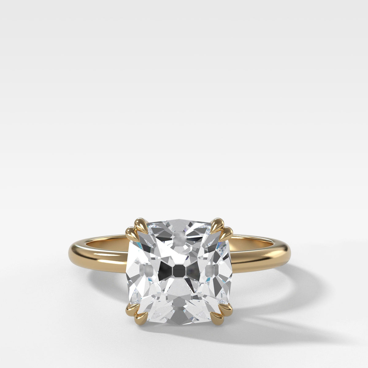 Signature Cathedral Solitaire With Old Mine Cut In Yellow Gold By Good Stone