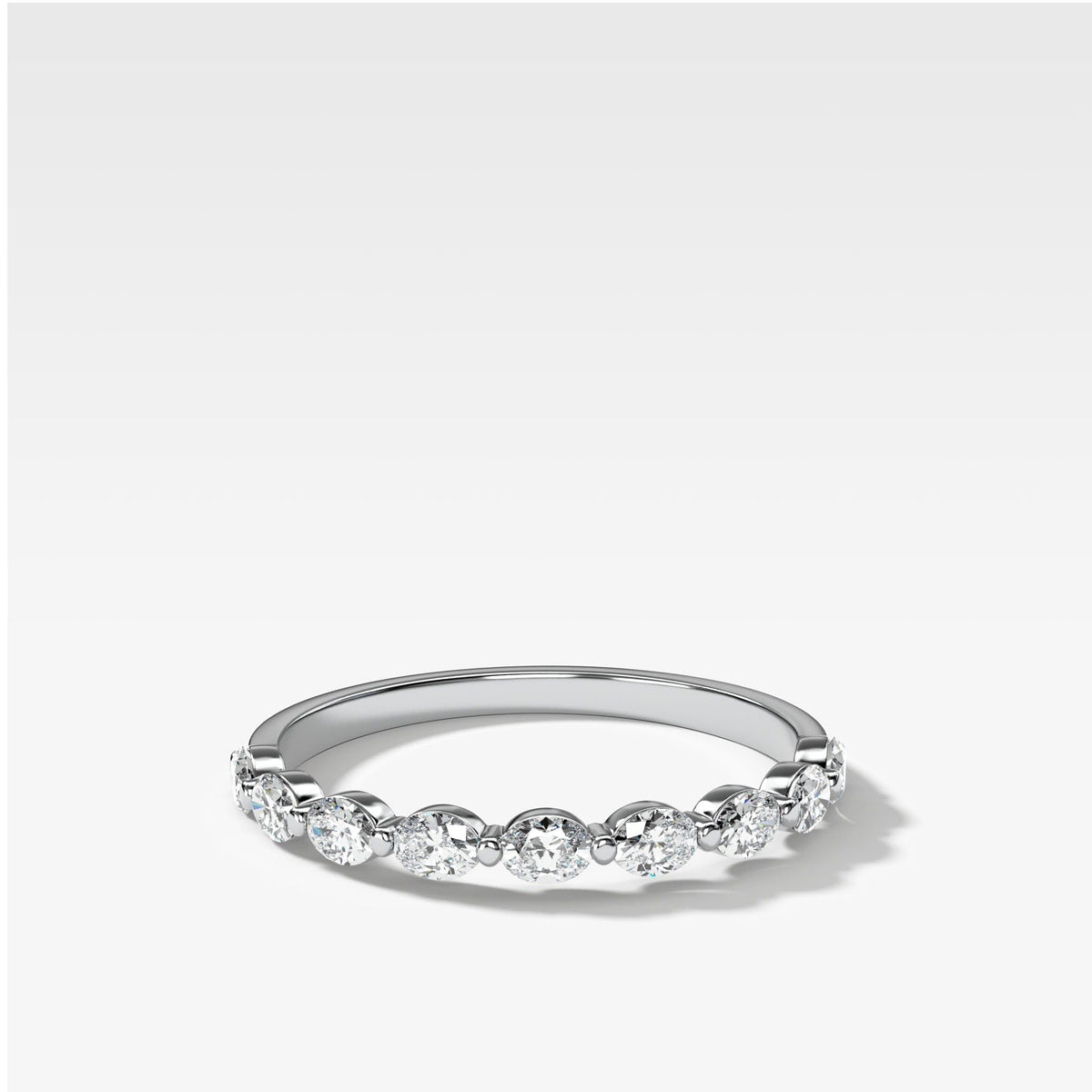 Oval Interstellar Wedding Band In White Gold By Good Stone