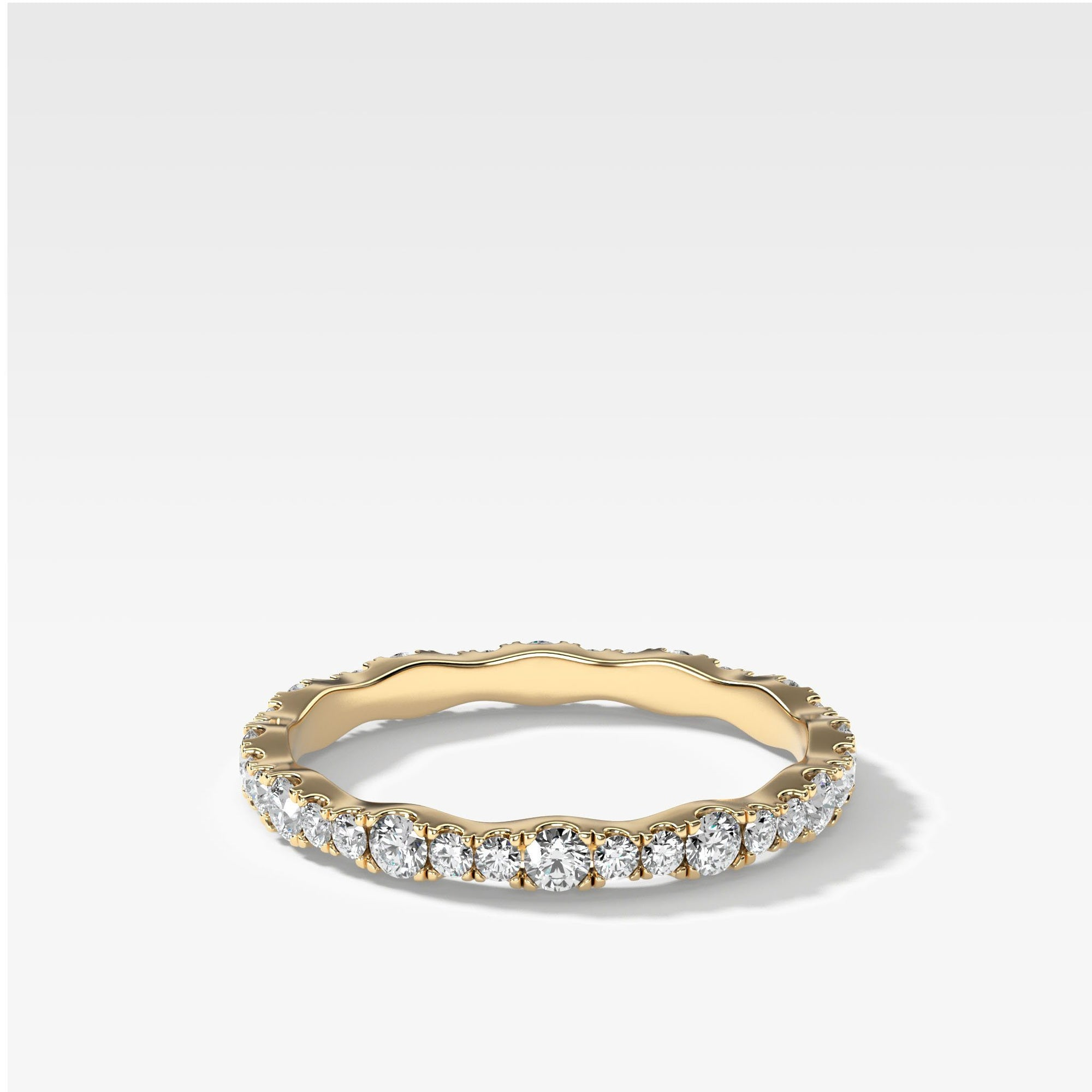 Pave Ripple Band In Yellow Gold By Good Stone