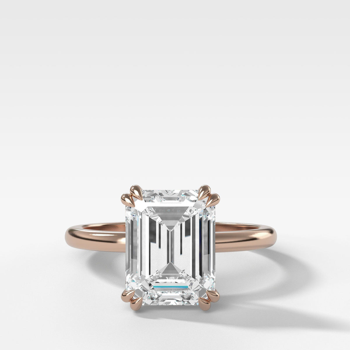 Signature Cathedral Solitaire With Emerald Cut (North South) in Rose Gold by Good Stone