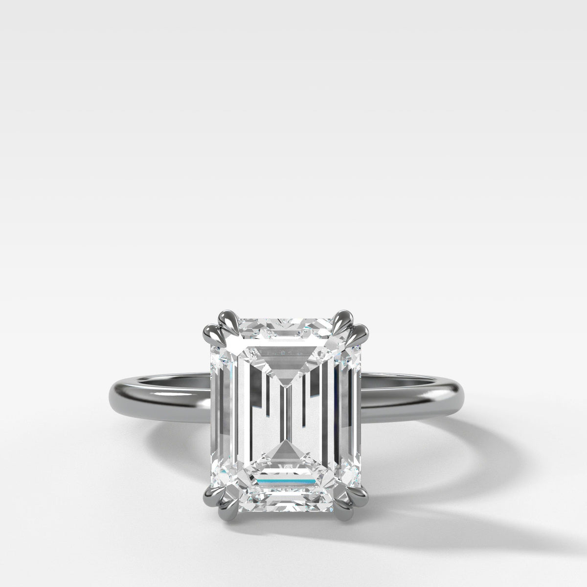 Signature Cathedral Solitaire With Emerald Cut (North South) in White Gold by Good Stone