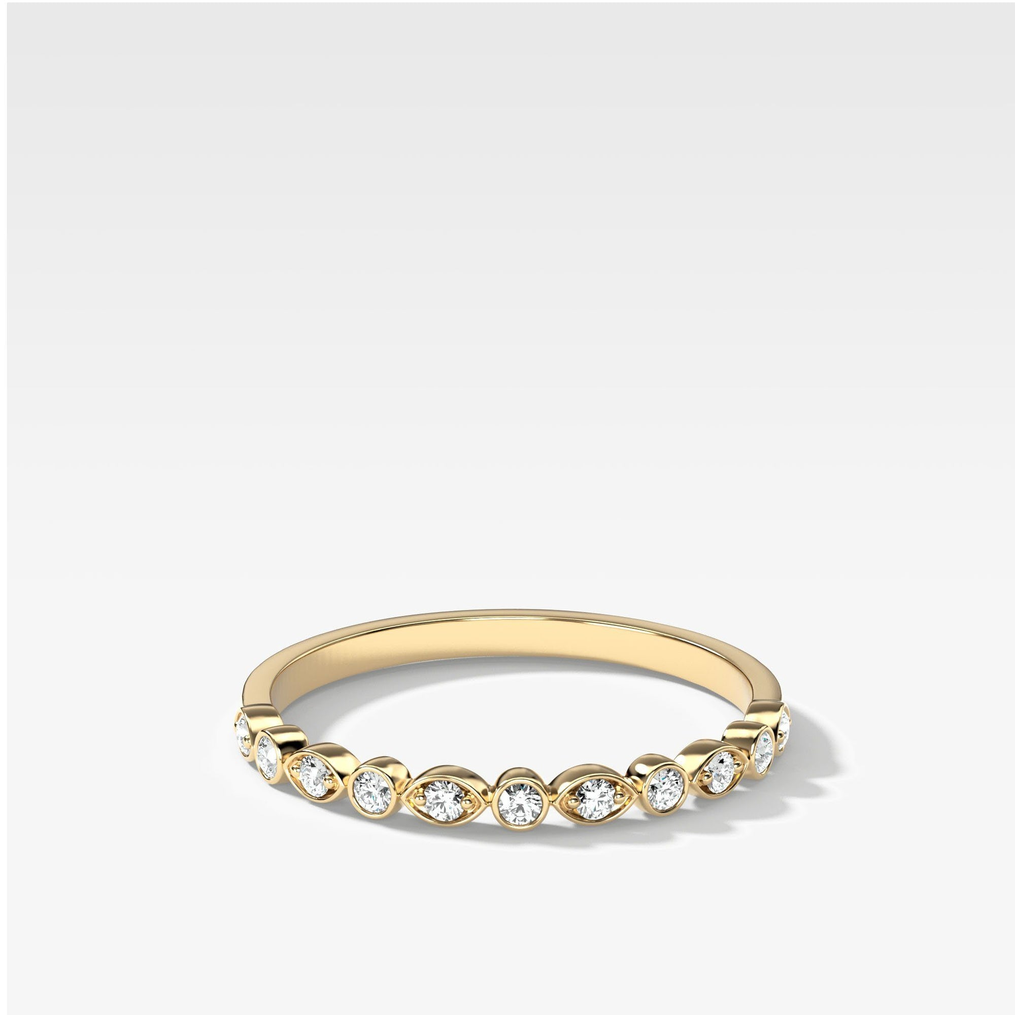Scalloped Diamond Stacker In Yellow Gold By Good Stone