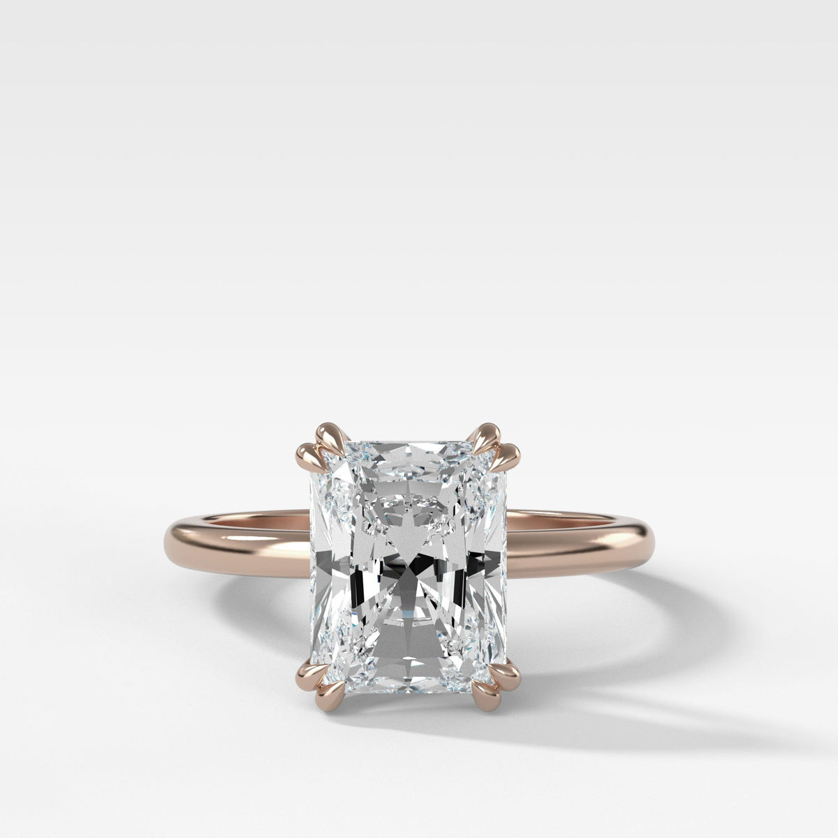 Signature Cathedral Solitaire With Radiant Cut In Rose Gold By Good Stone