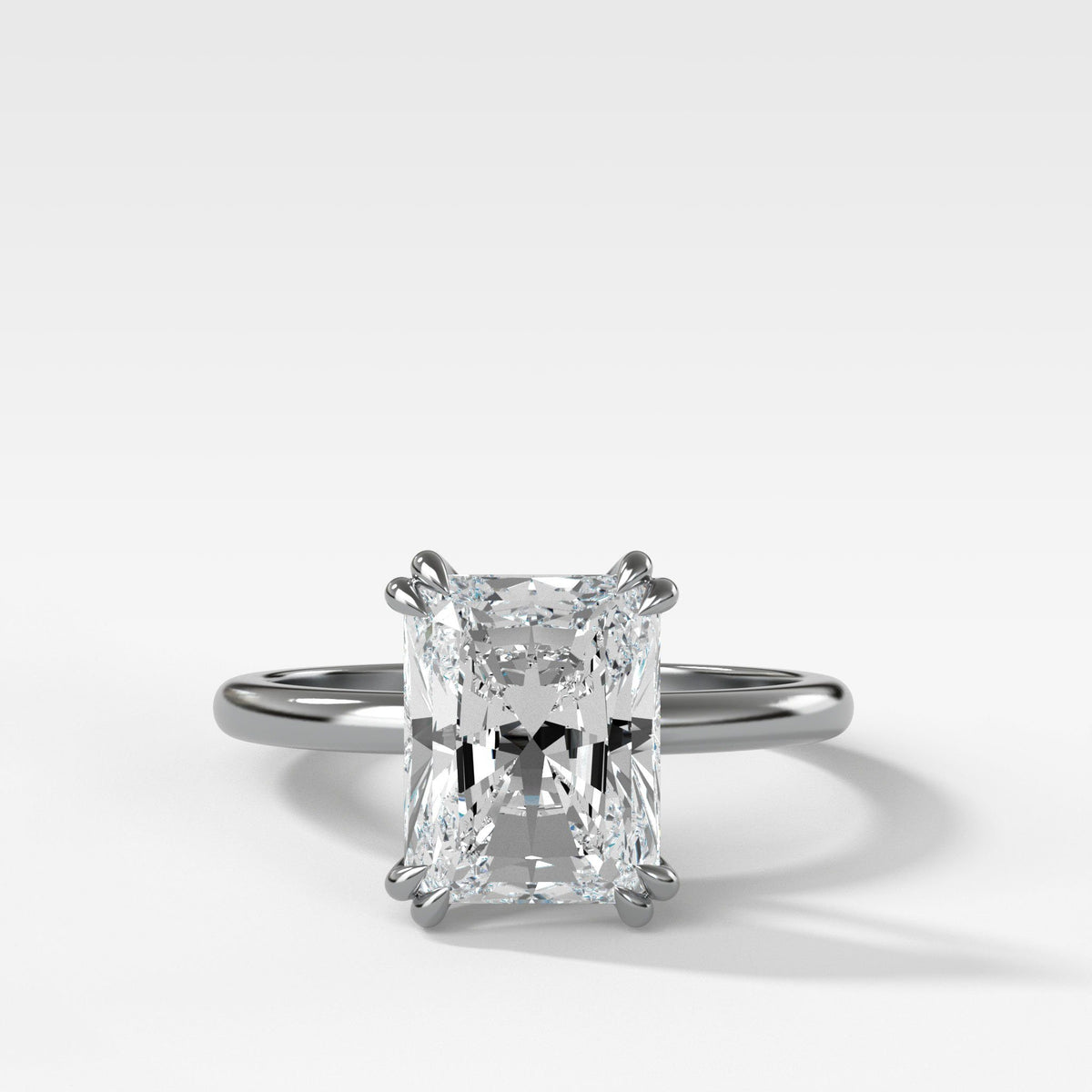 Signature Cathedral Solitaire With Radiant Cut In White Gold By Good Stone