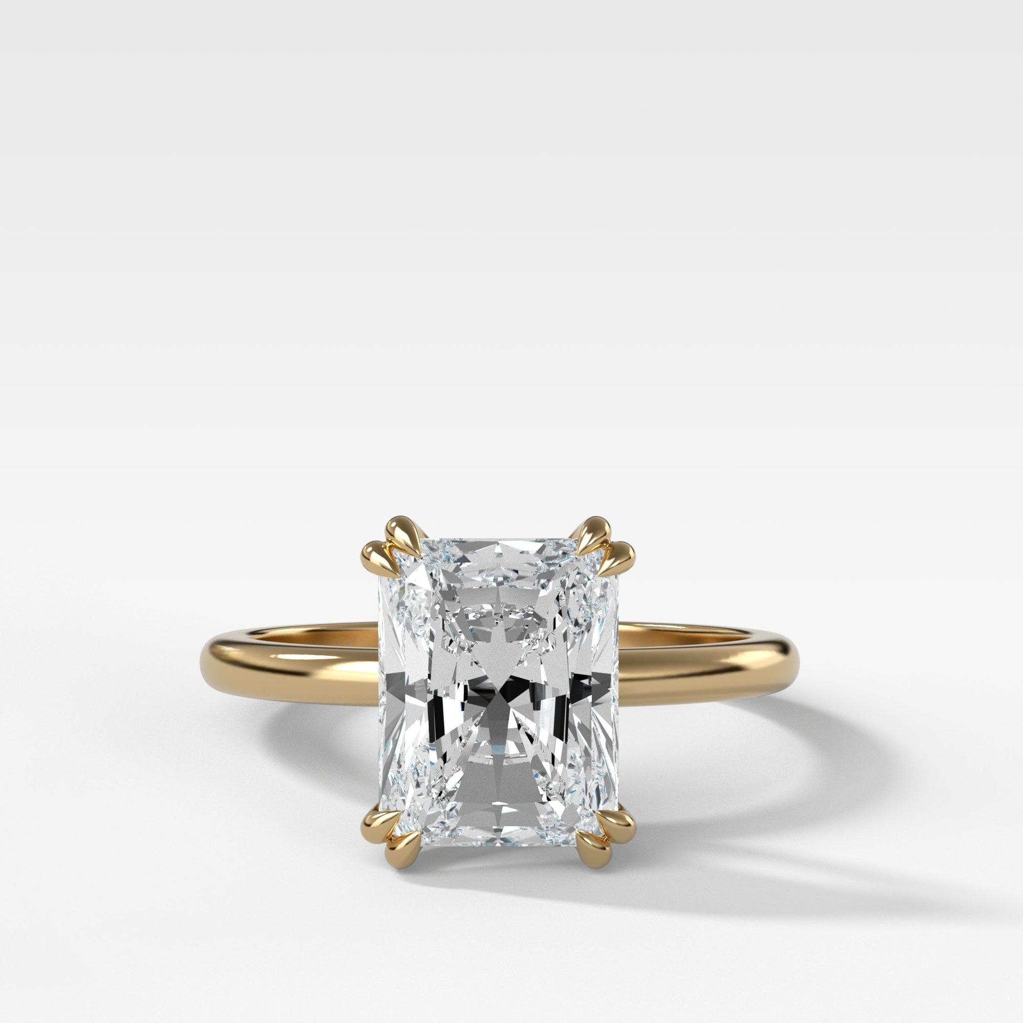 Signature Cathedral Solitaire With Radiant Cut In Yellow Gold By Good Stone