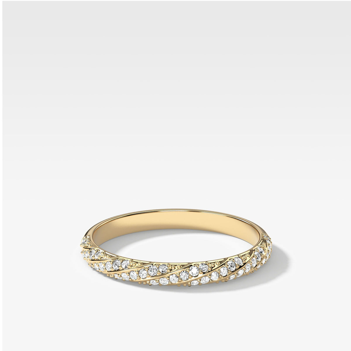 Twisted Pavé Stacker In Yellow Gold By Good Stone