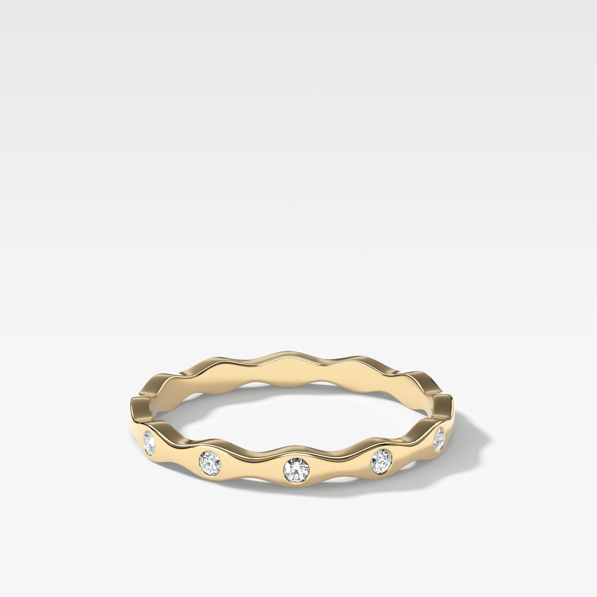 Treble Diamond Band In Yellow Gold By Good Stone