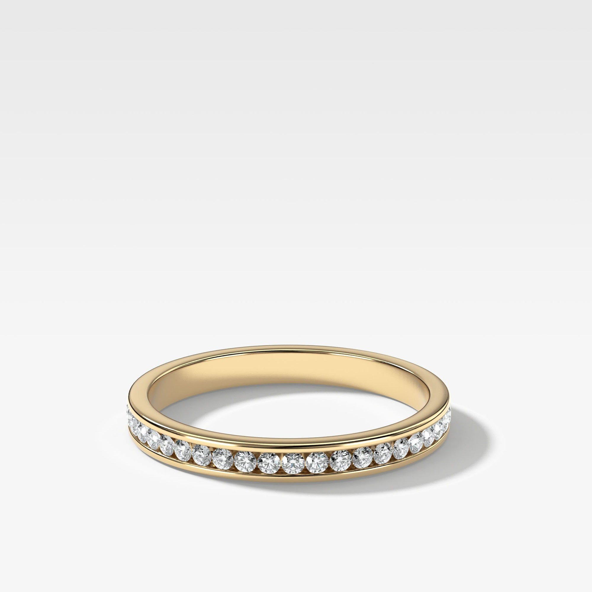 Petite Channel Set Stacker In Yellow Gold By Good Stone
