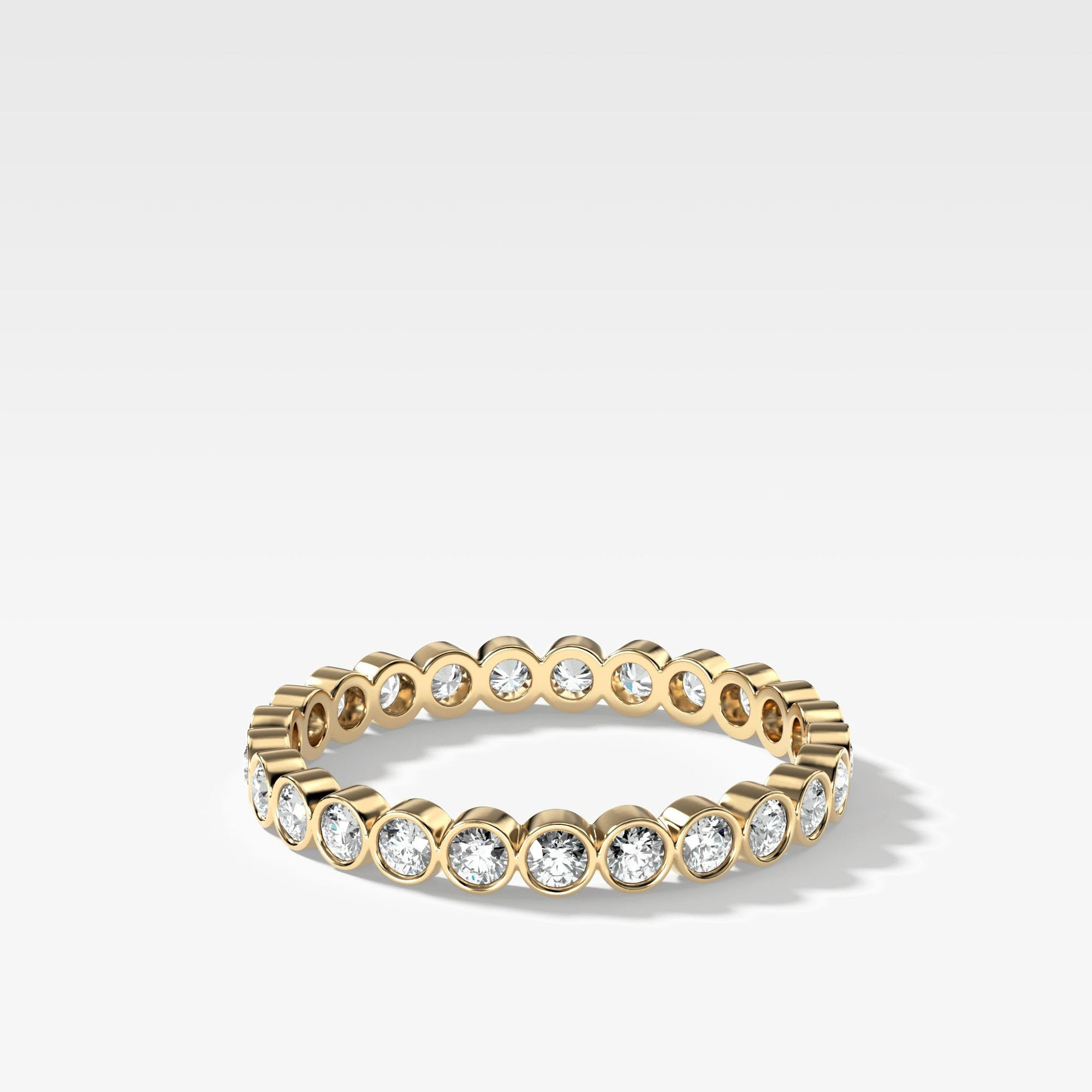 Round Bezel Diamond Wedding Band In Yellow Gold By Good Stone