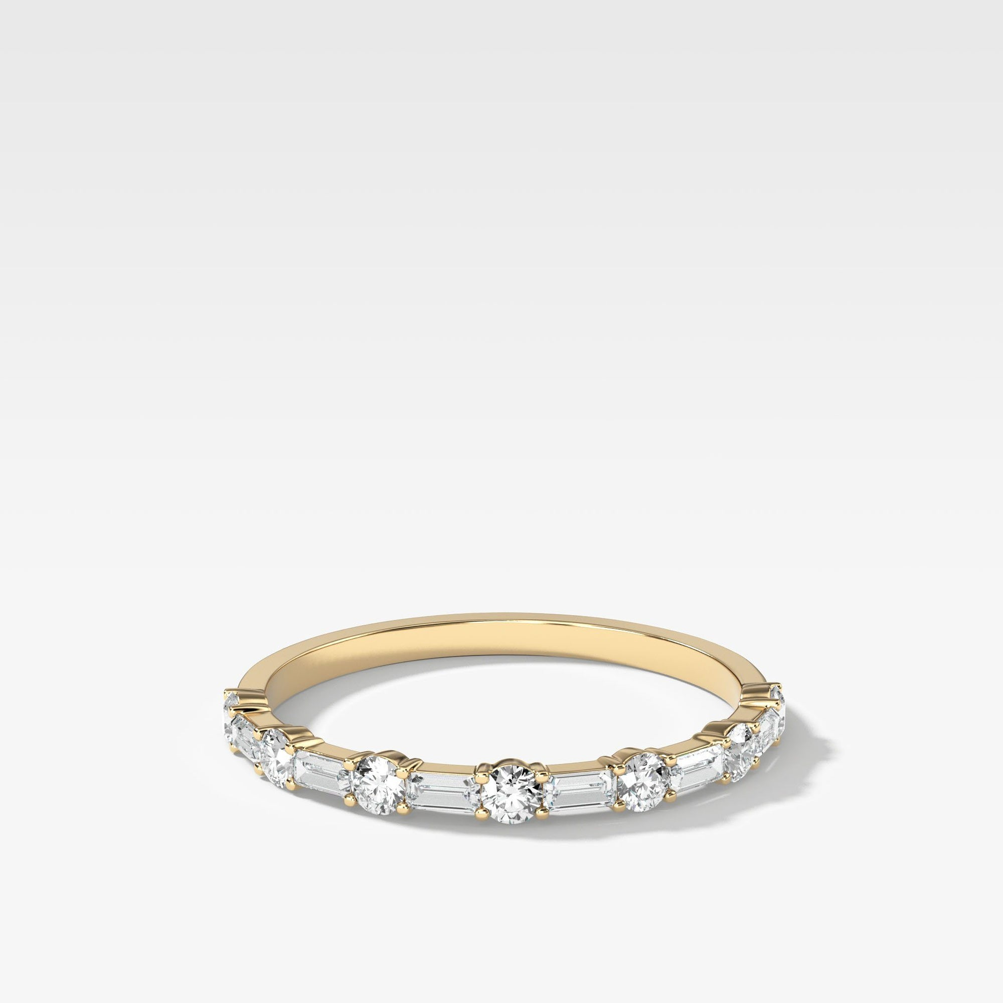Scorpio Baguette Diamond Wedding Band In Yellow Gold By Good Stone