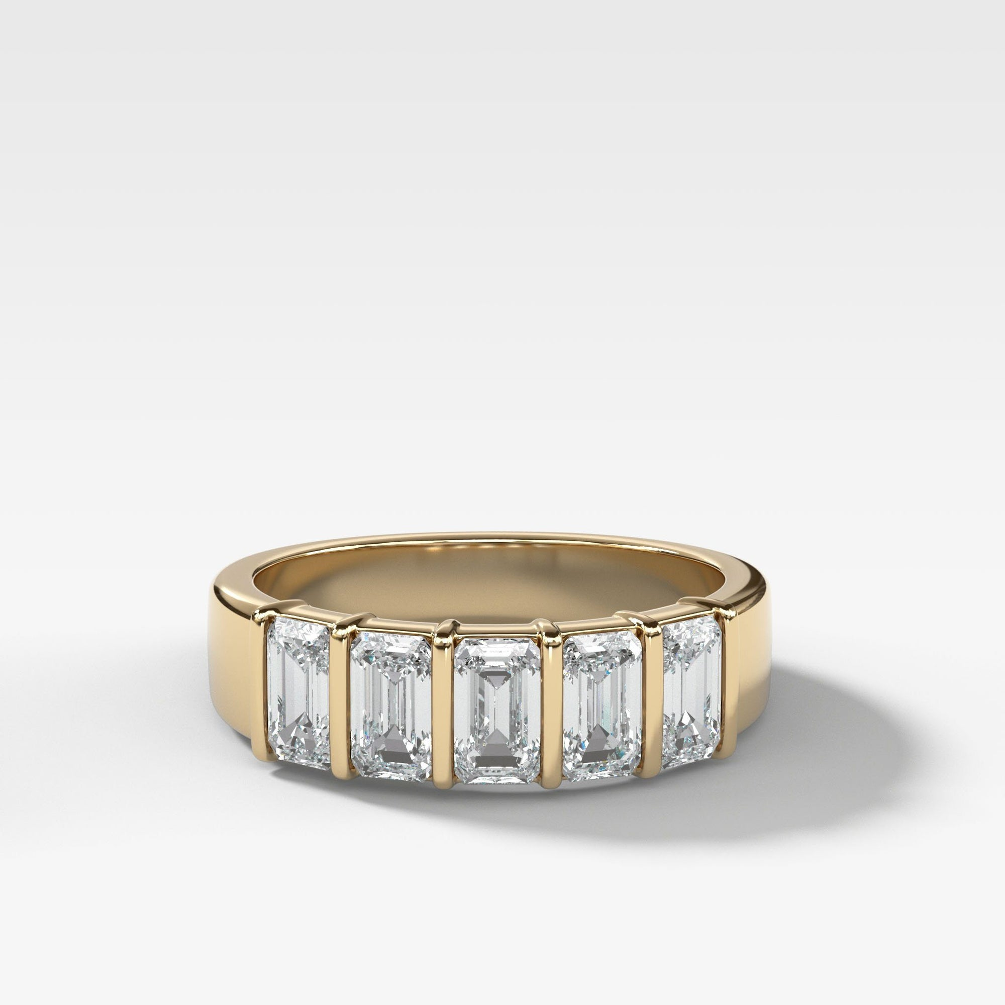Five Stone Emerald Cut Diamond Ring in Yellow Gold by Good Stone