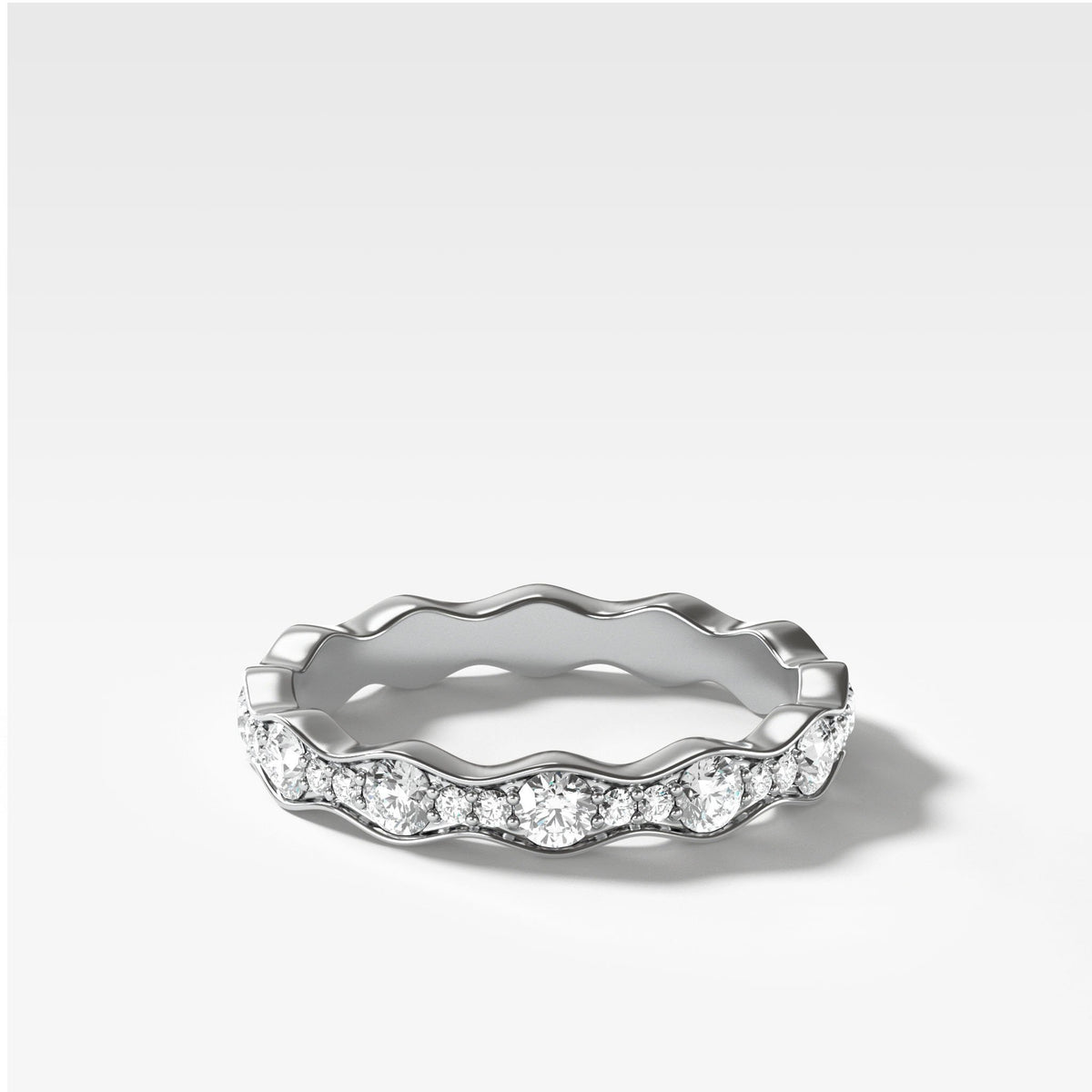 Bead Set Ripple Band In White Gold By Good Stone