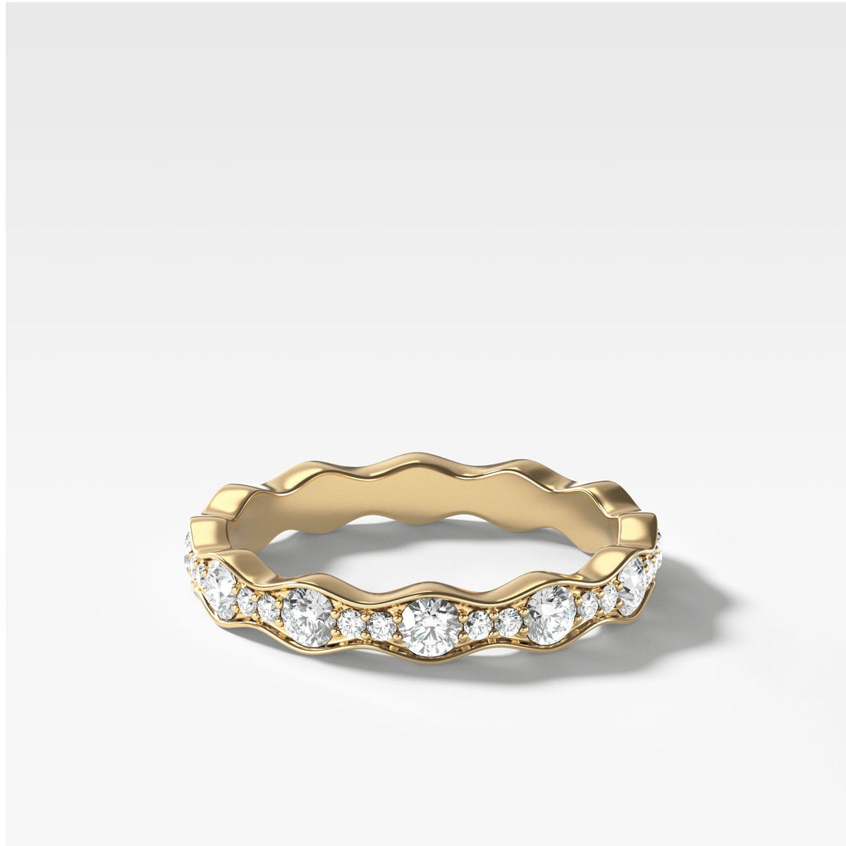 Bead Set Ripple Band In Yellow Gold By Good Stone