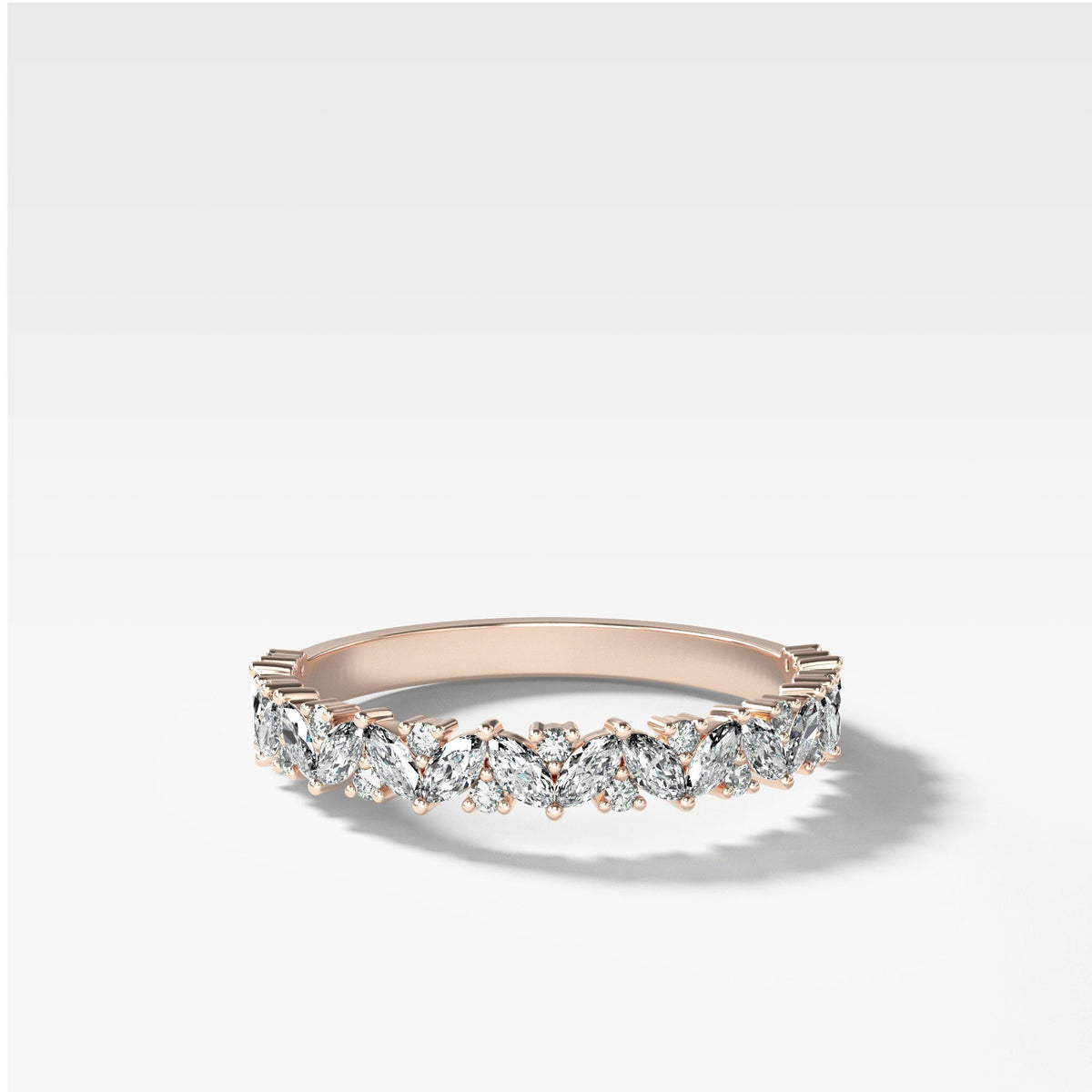 Marquise Round Multi Shape Diamond Wedding Band In Rose Gold By Good Stone