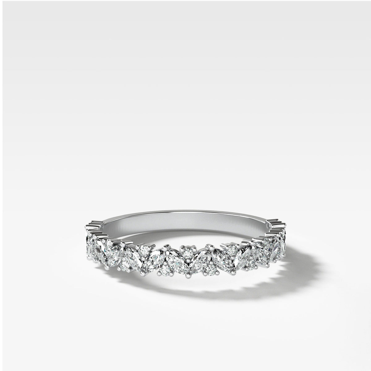 Marquise Round Multi Shape Diamond Wedding Band In White Gold By Good Stone