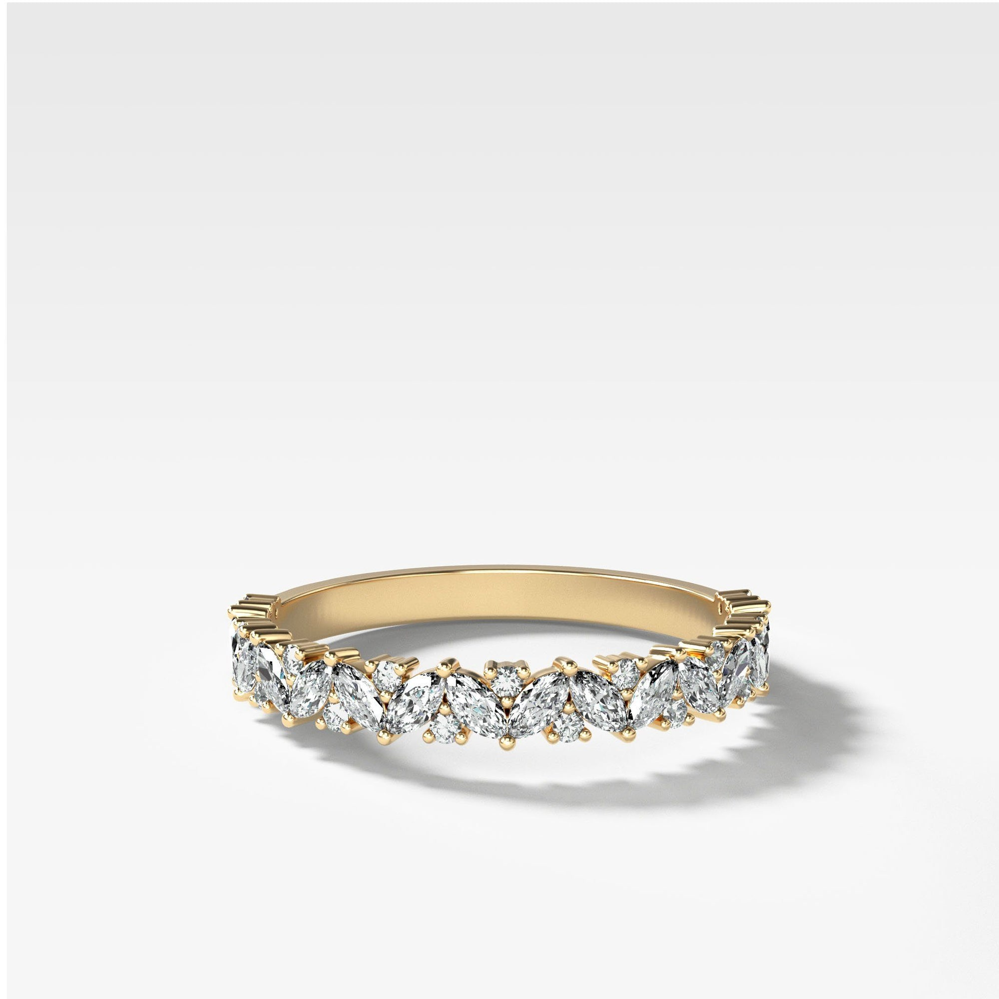 Marquise Round Multi Shape Diamond Wedding Band In Yellow Gold By Good Stone