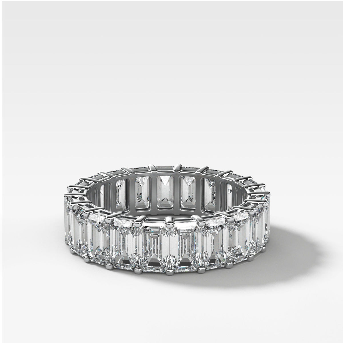 Emerald Cut Constellation Eternity Band available in White Gold by Good Stone