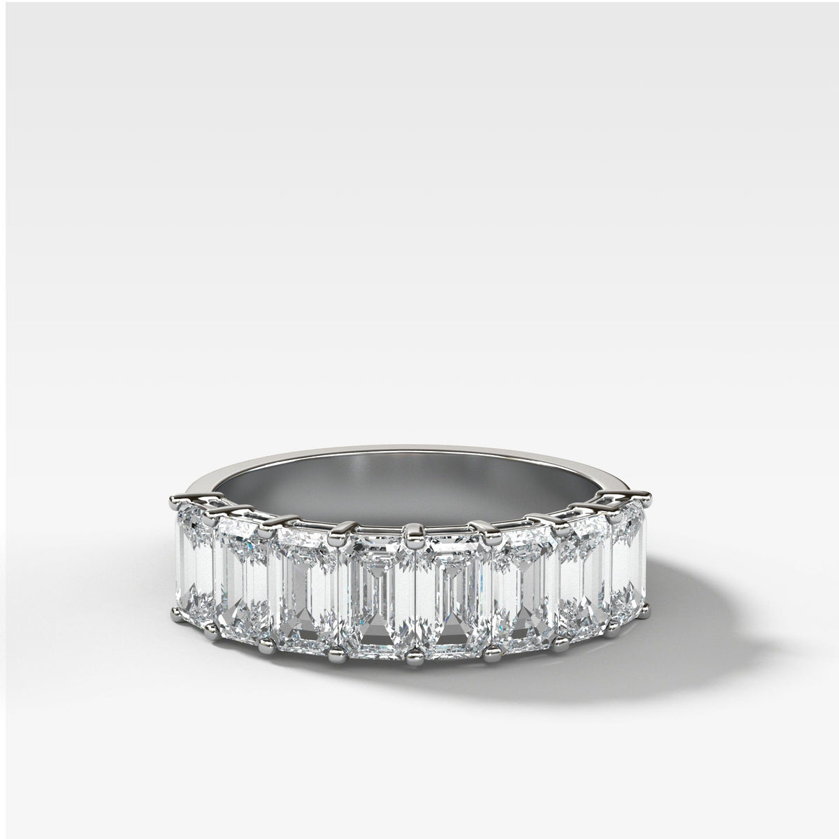 Halfway Emerald Cut Constellation Band in White Gold by Good Stone
