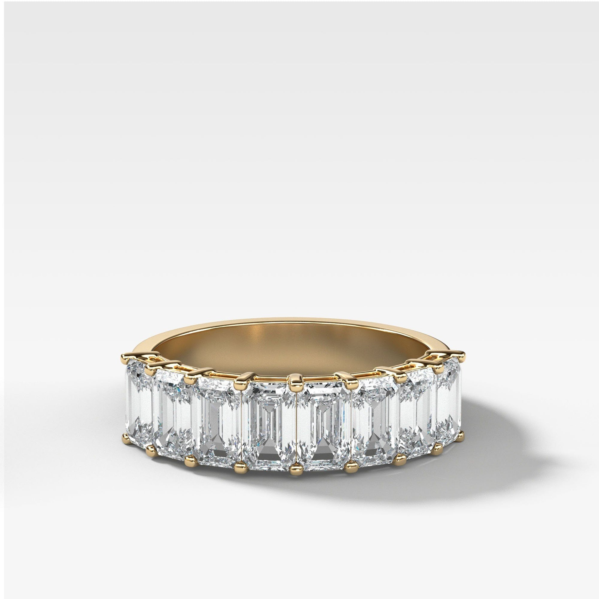 Halfway Emerald Cut Constellation Band in Yellow Gold by Good Stone