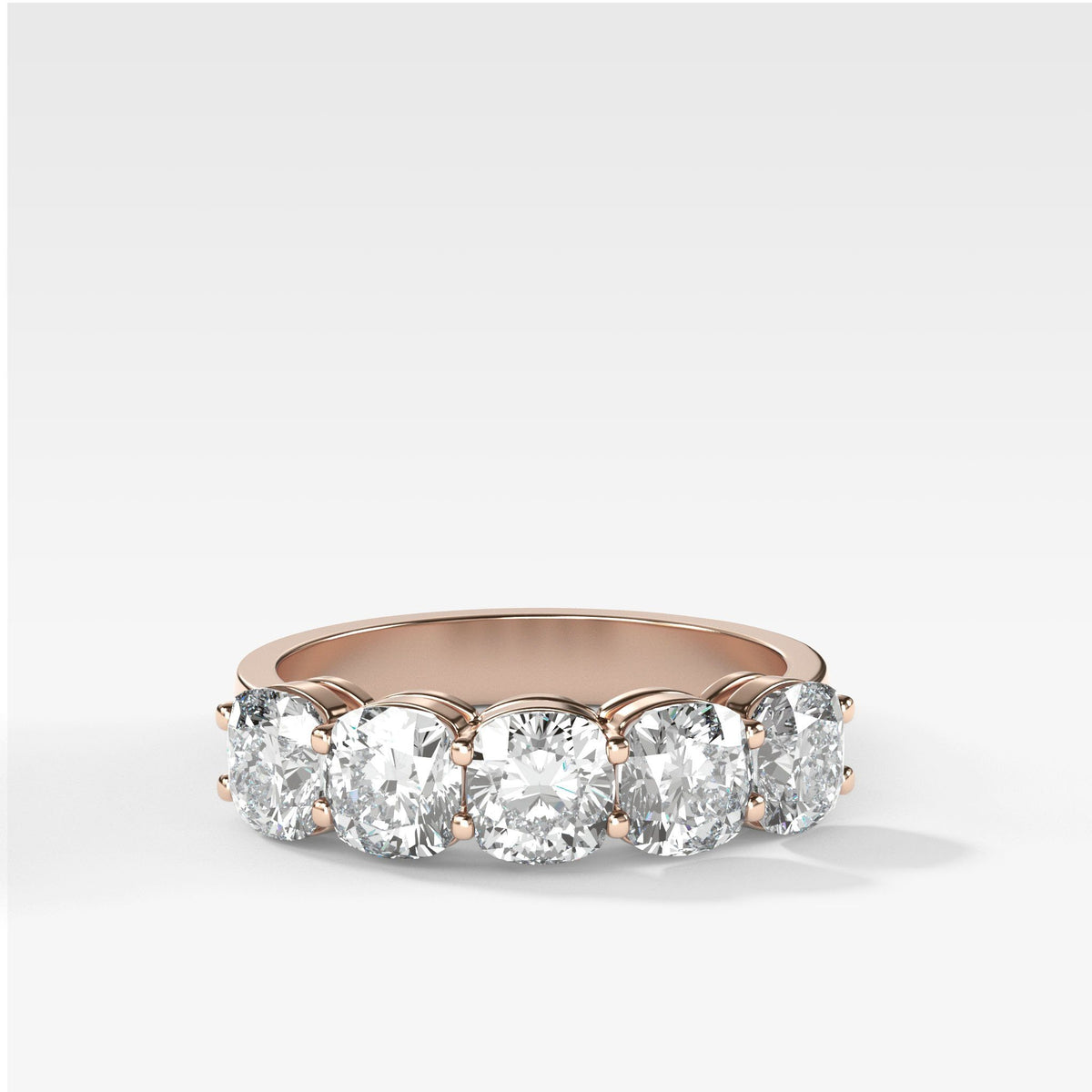 Five Stone Cushion Cut Diamond Band Ring in Rose Gold by Good Stone