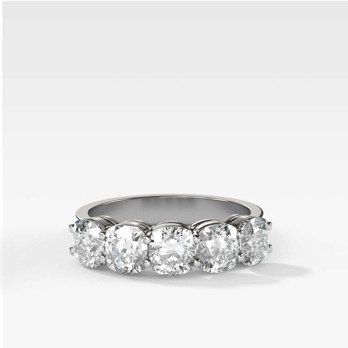 Five Stone Cushion Cut Diamond Band Ring in White Gold by Good Stone