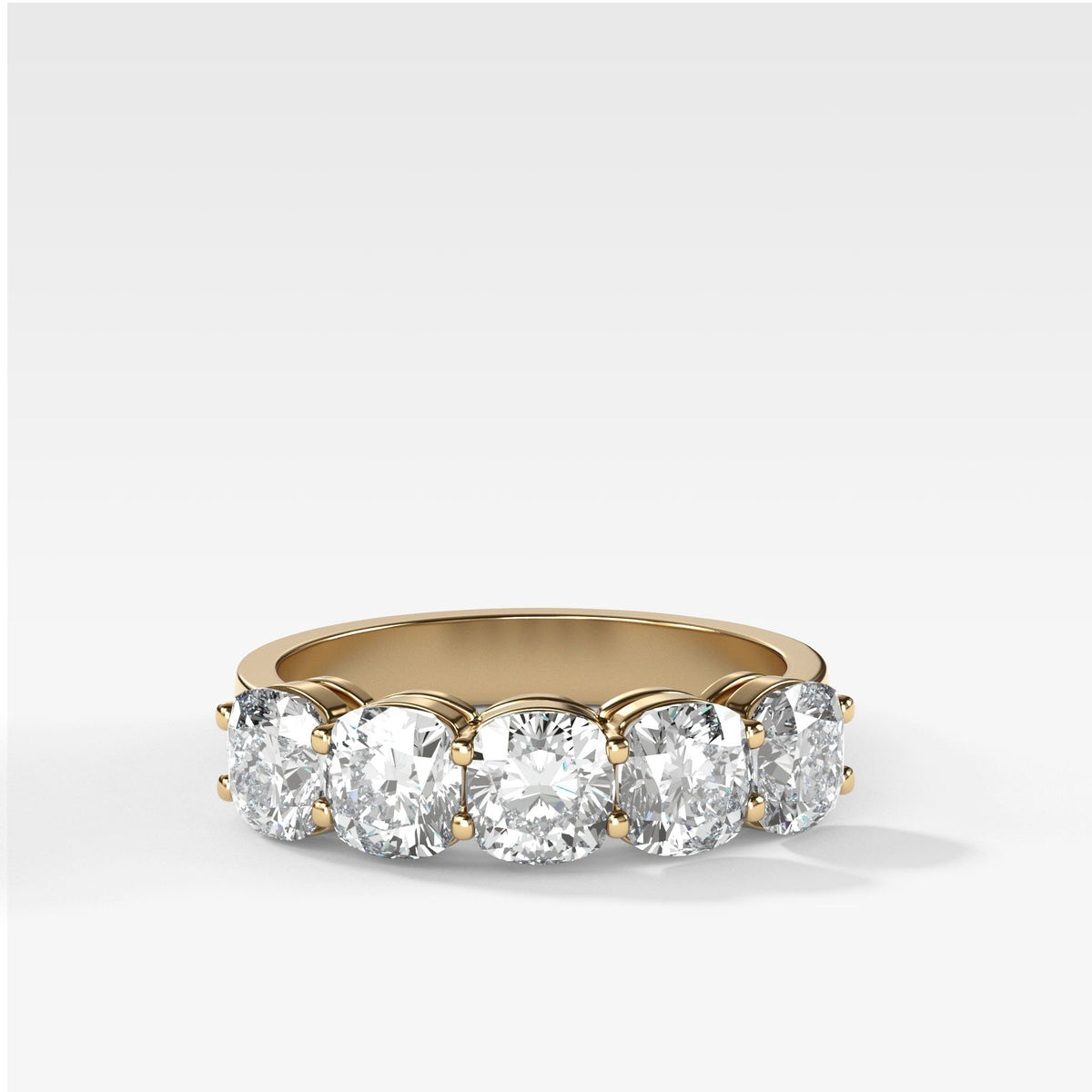 Five Stone Cushion Cut Diamond Band Ring in Yellow Gold by Good Stone