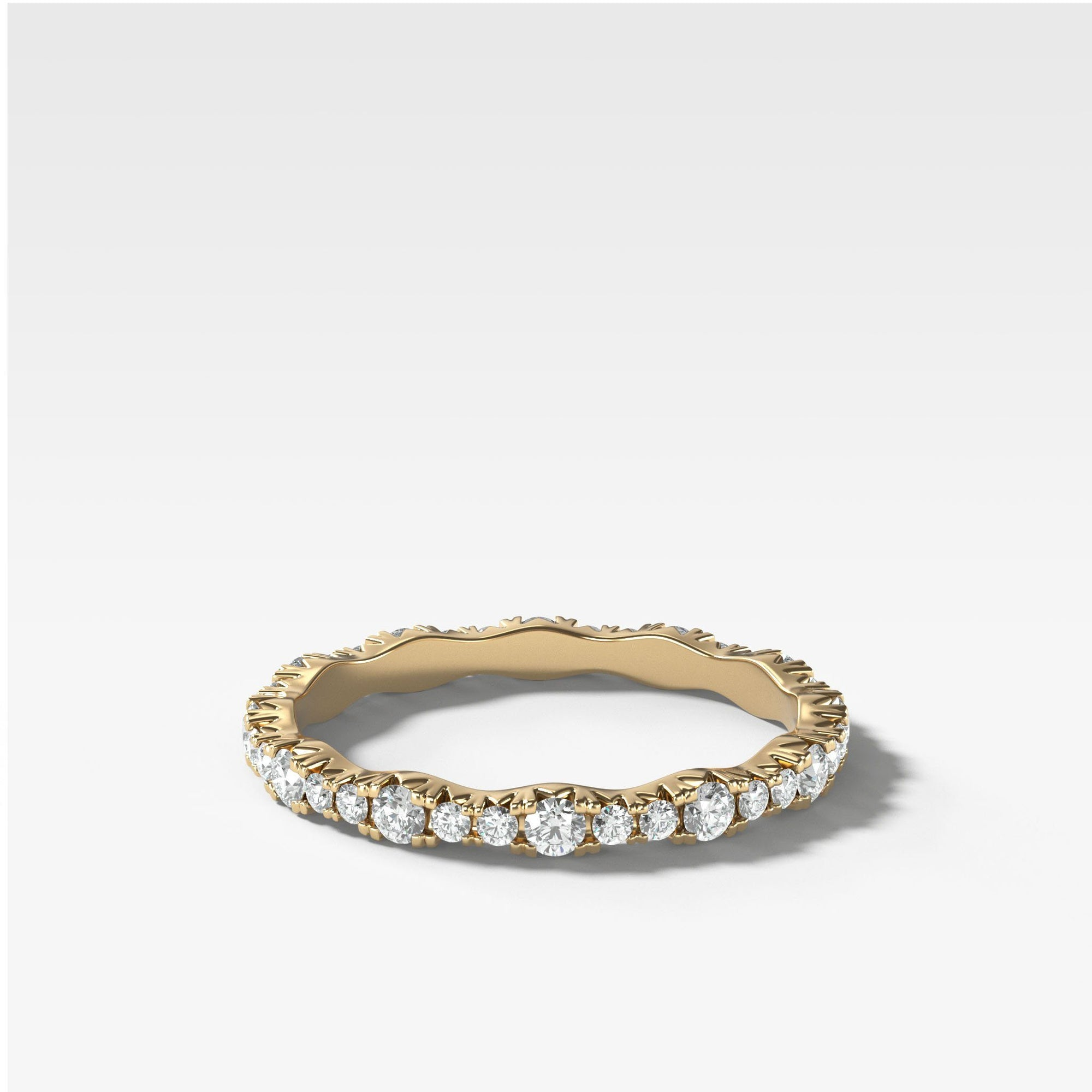 French Pave Ripple Band In Yellow Gold By Good Stone