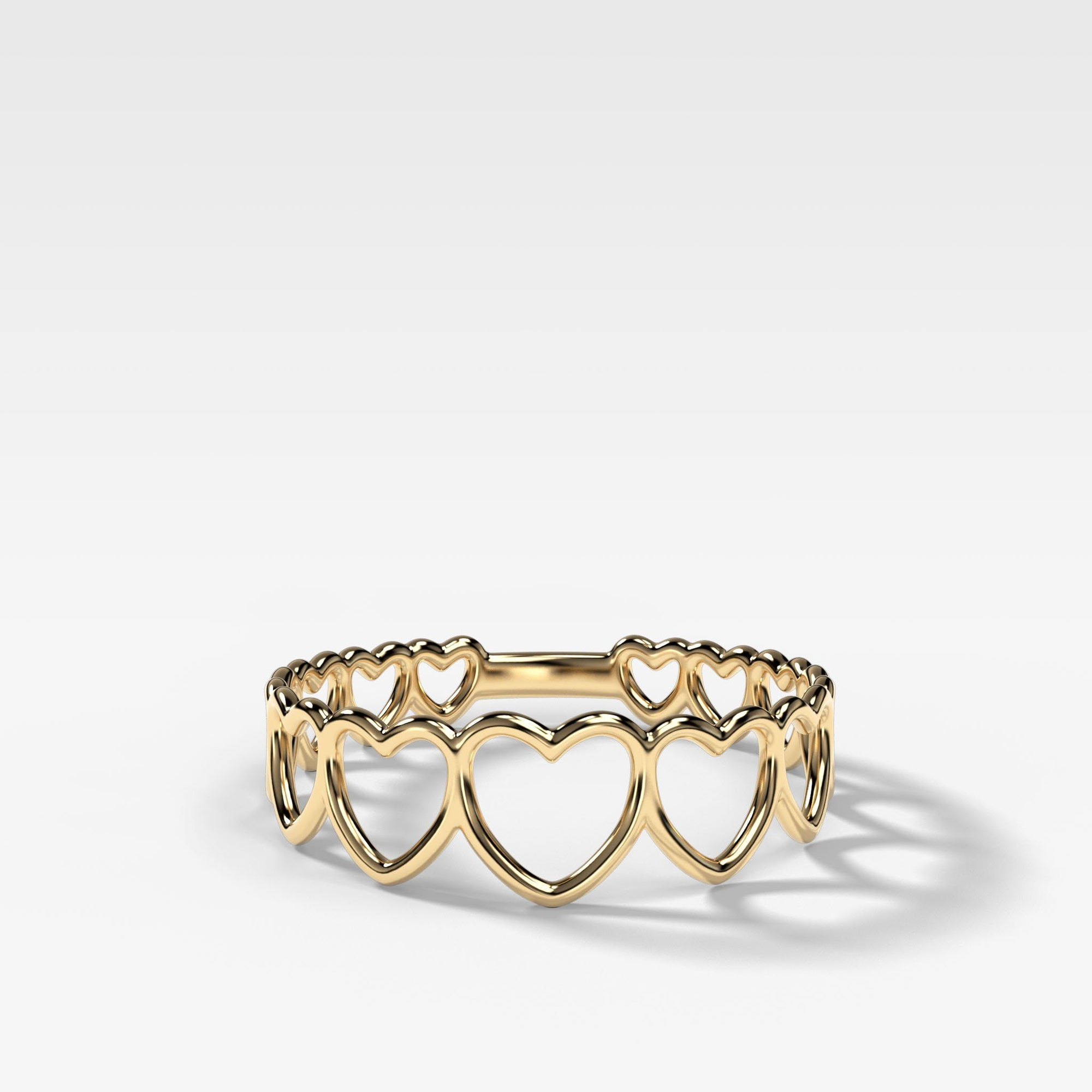 Graduated Heart Stacker Ring in Yellow Gold by Good Stone