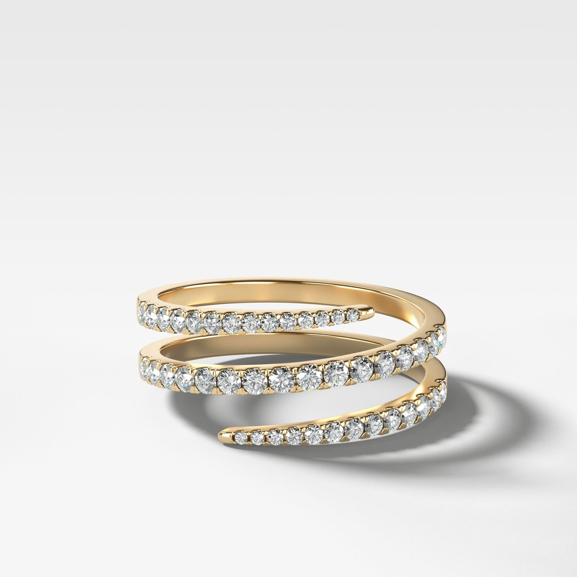 Pavé Diamond Wrap Ring in Yellow Gold by Good Stone