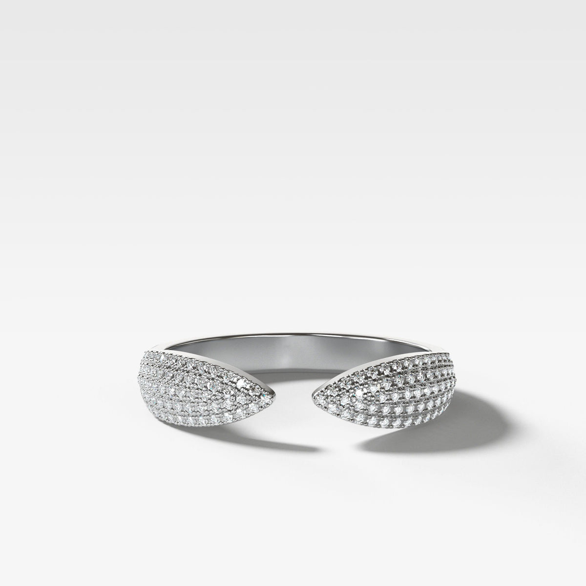 Pavé Finger Cuff Diamond Band available in White Gold by Good Stone