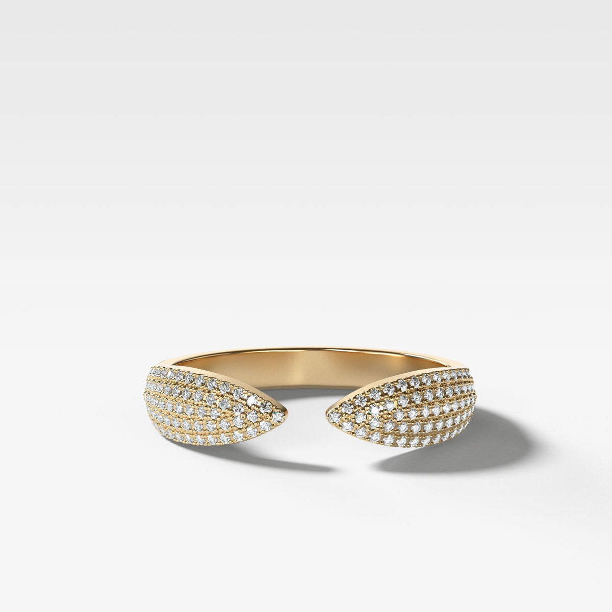 Pavé Finger Cuff Diamond Band available in Yellow Gold by Good Stone