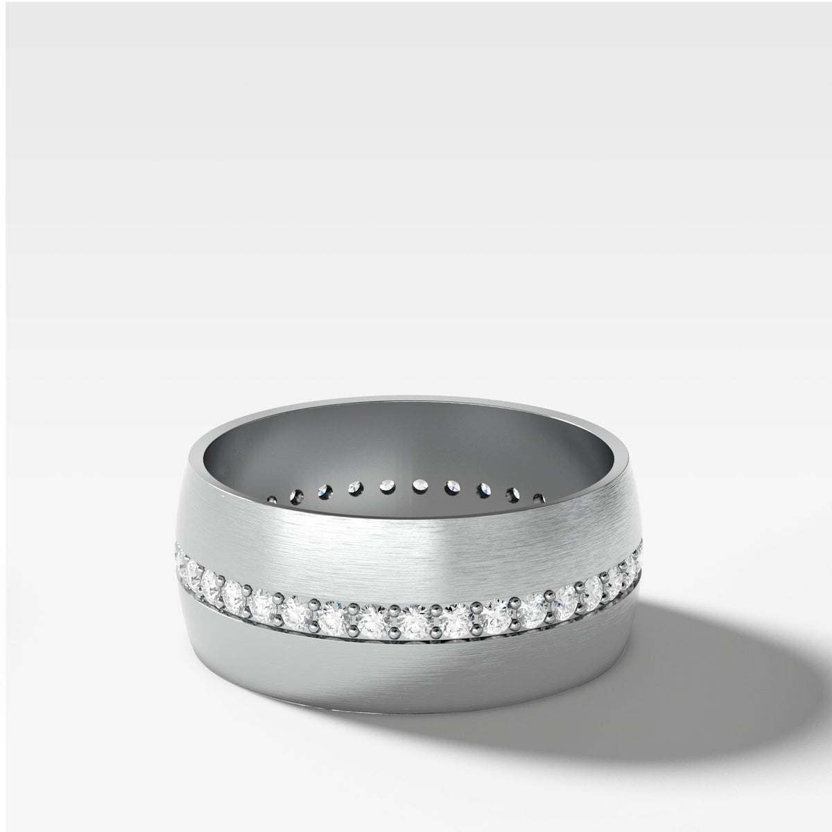Wide Dome Diamond Pavé Eternity Band In White Gold By Good Stone