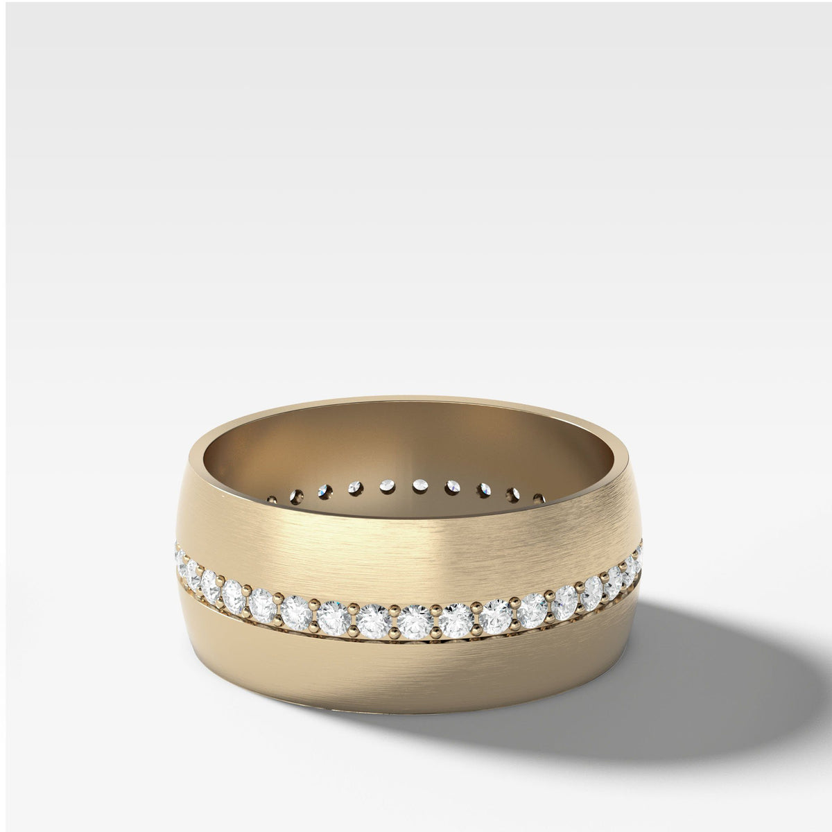 Wide Dome Diamond Pavé Eternity Band In Yellow Gold By Good Stone
