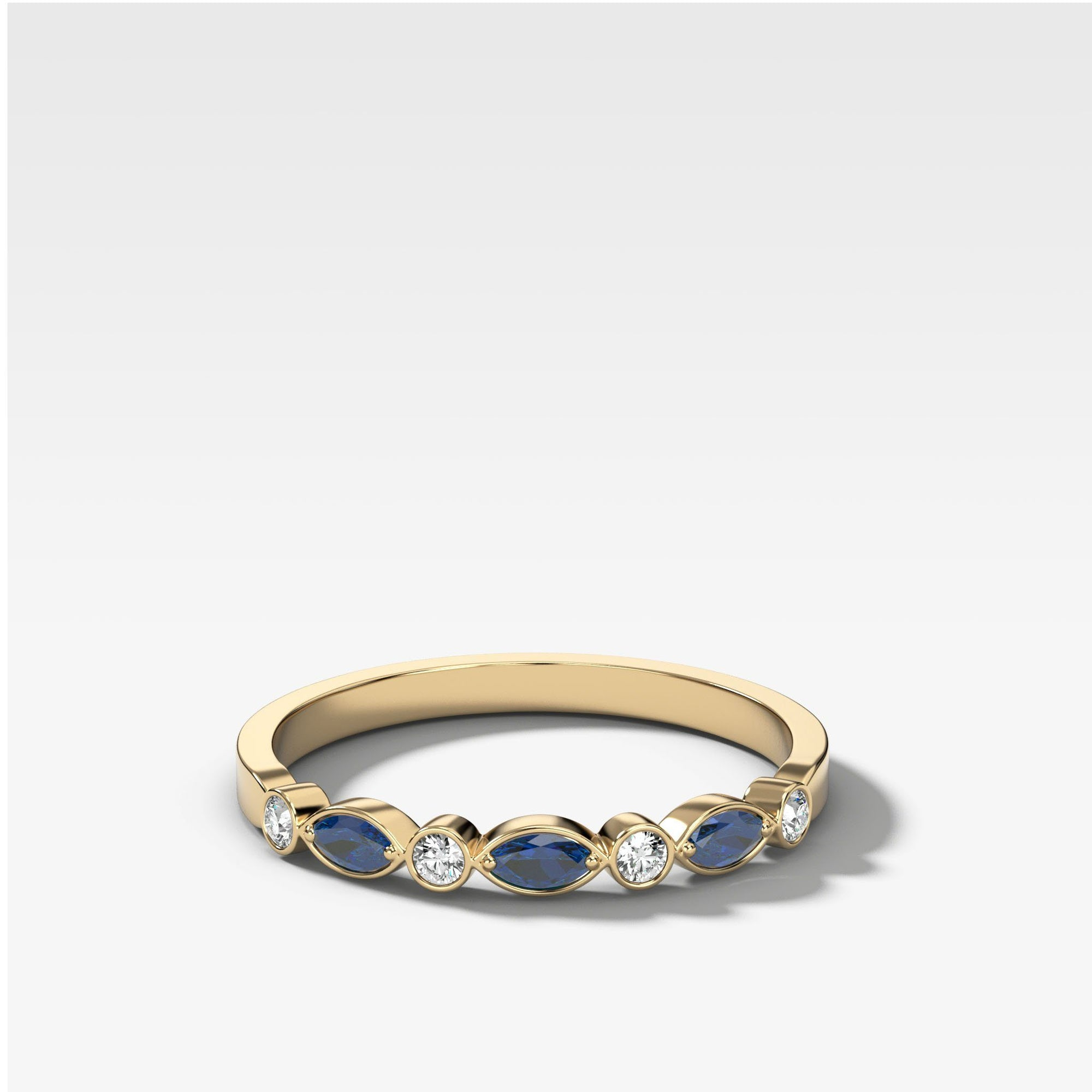 Diamond And Sapphire Tiara Bezel Set Wedding Band in Yellow Gold by Good Stone