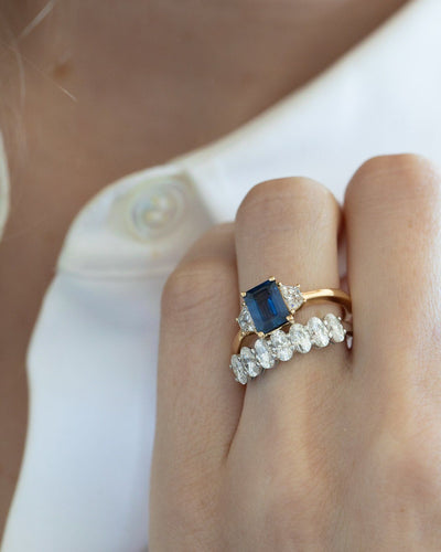 Sapphire Emerald Cut with Trapezoid Side Stone Engagement Ring