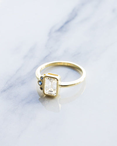 Blue Cluster Engagement Ring with Emerald Cut