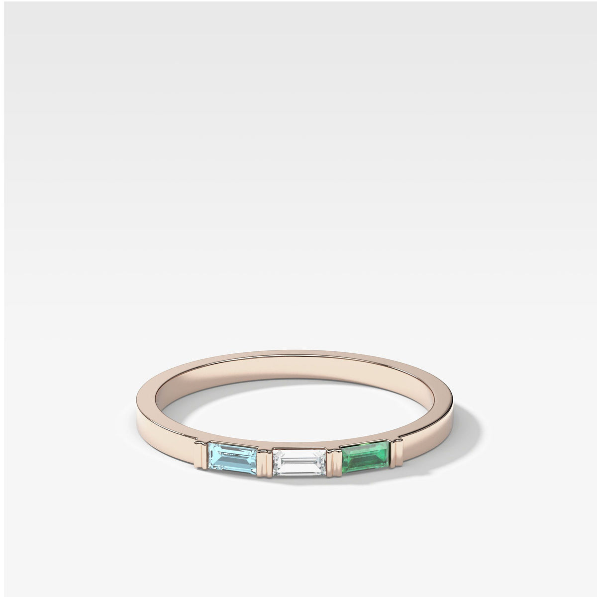 Three Stone Baguette Stacker in Rose Gold by Good Stone