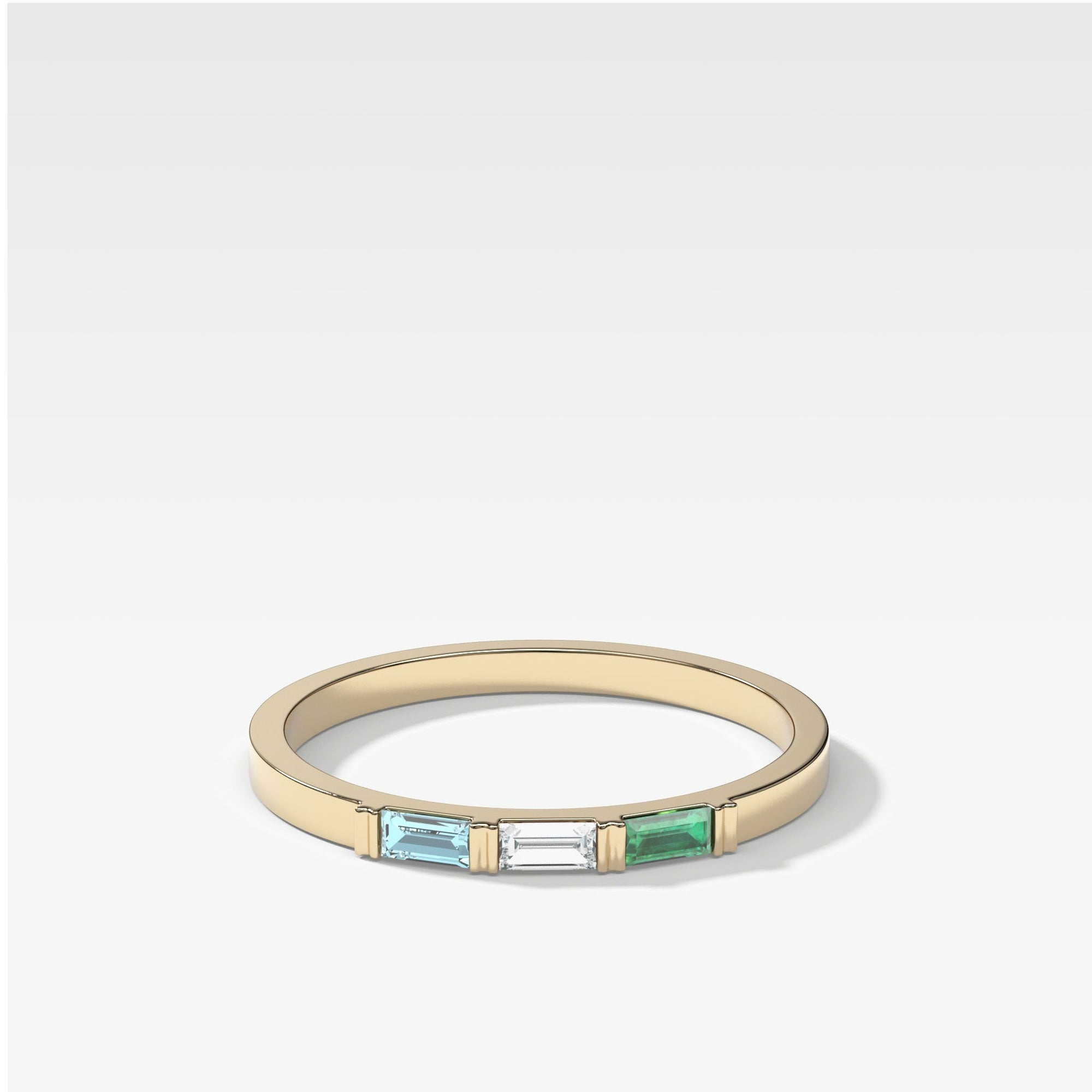 Three Stone Baguette Stacker in Yellow Gold by Good Stone