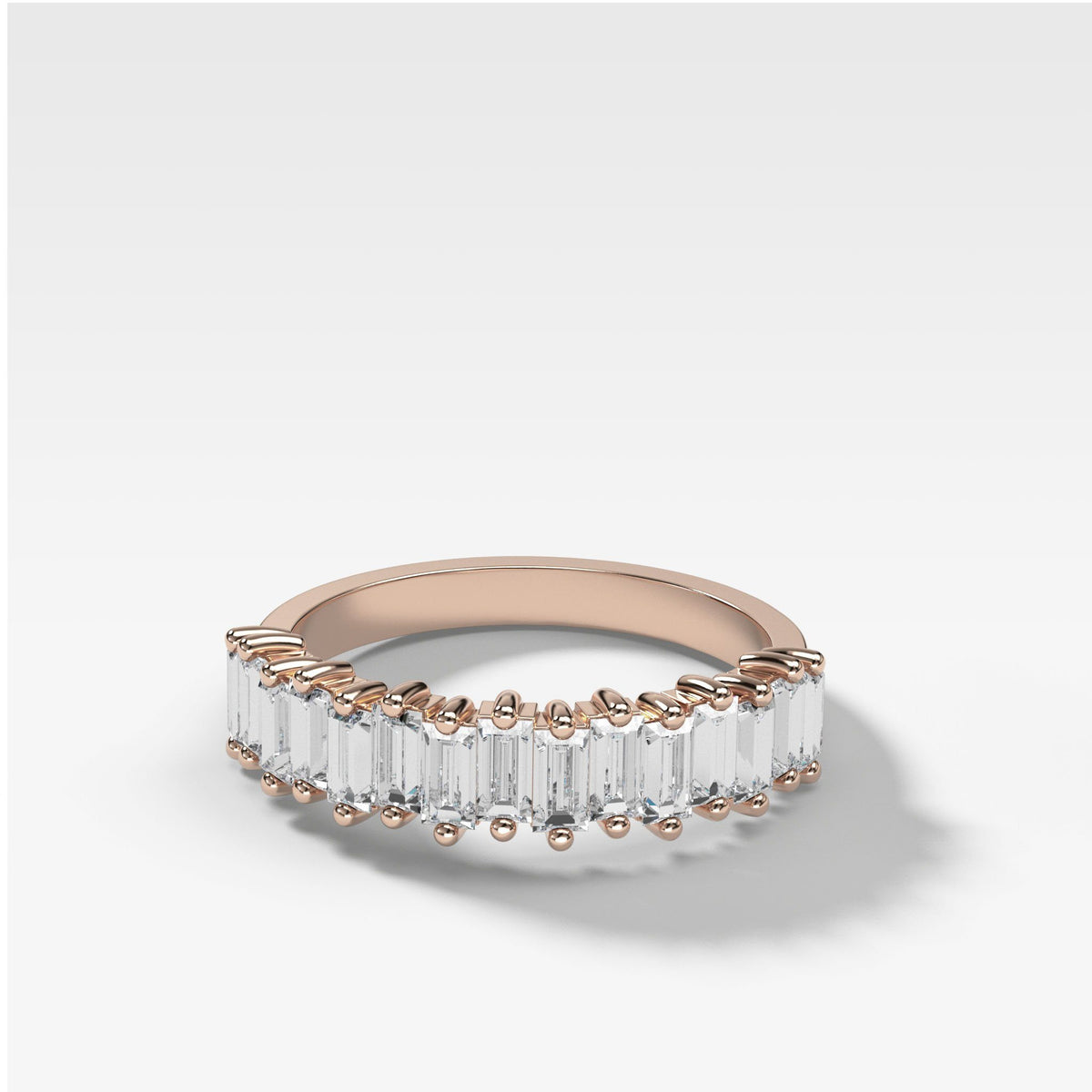 Midi Baguette Diamond Stacker In Rose Gold By Good Stone