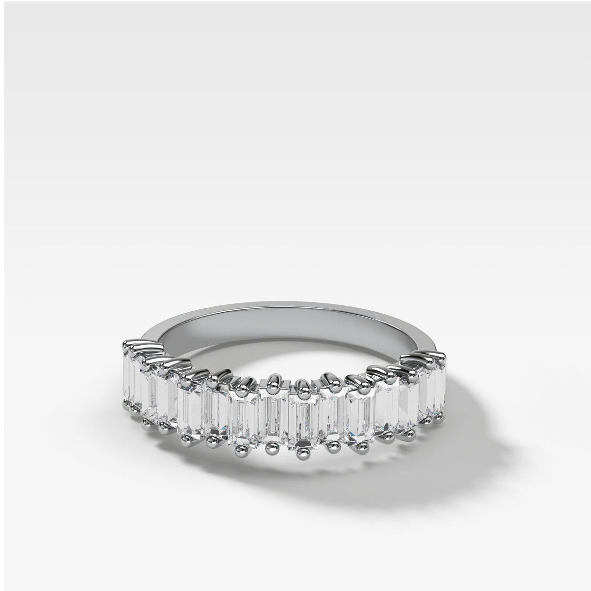 Midi Baguette Diamond Stacker In White Gold By Good Stone