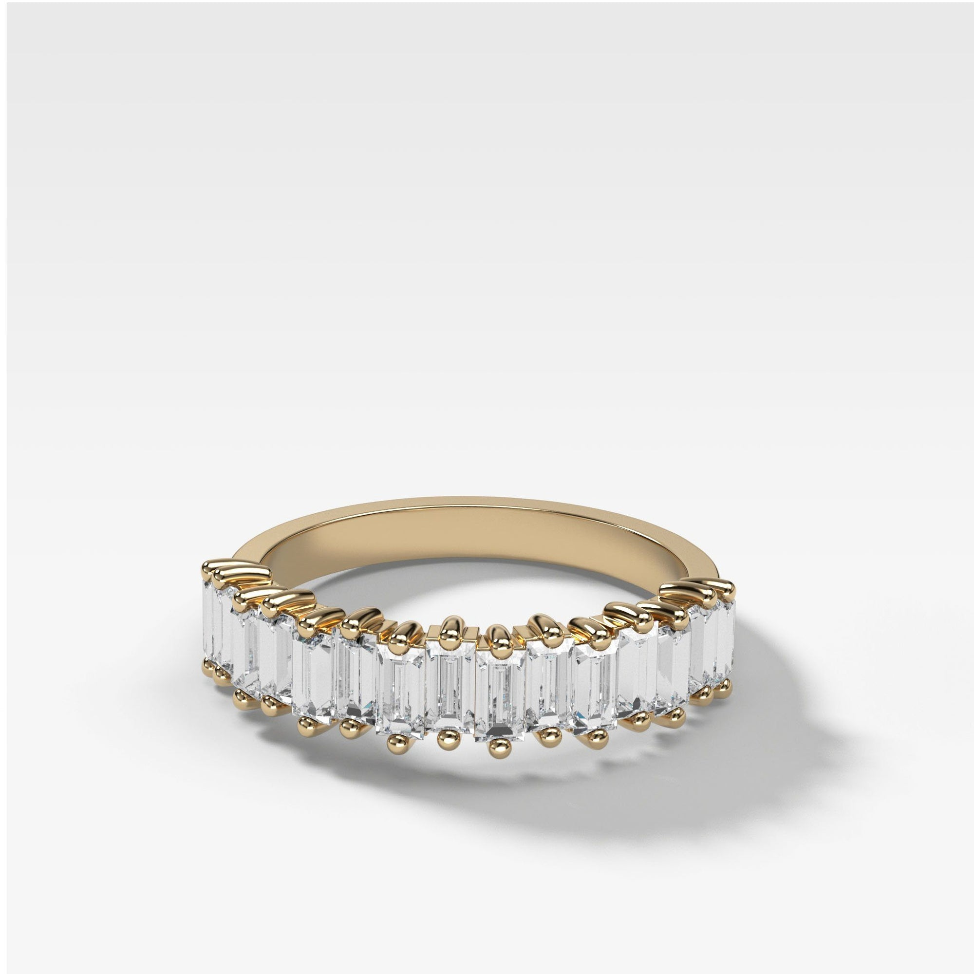 Midi Baguette Diamond Stacker In Yellow Gold By Good Stone