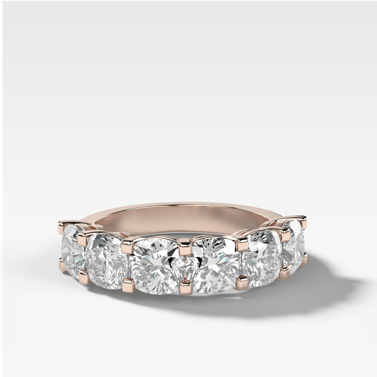 Six Stone Shared Prong Diamond Band With Cushion Cuts In Rose Gold By Good Stone