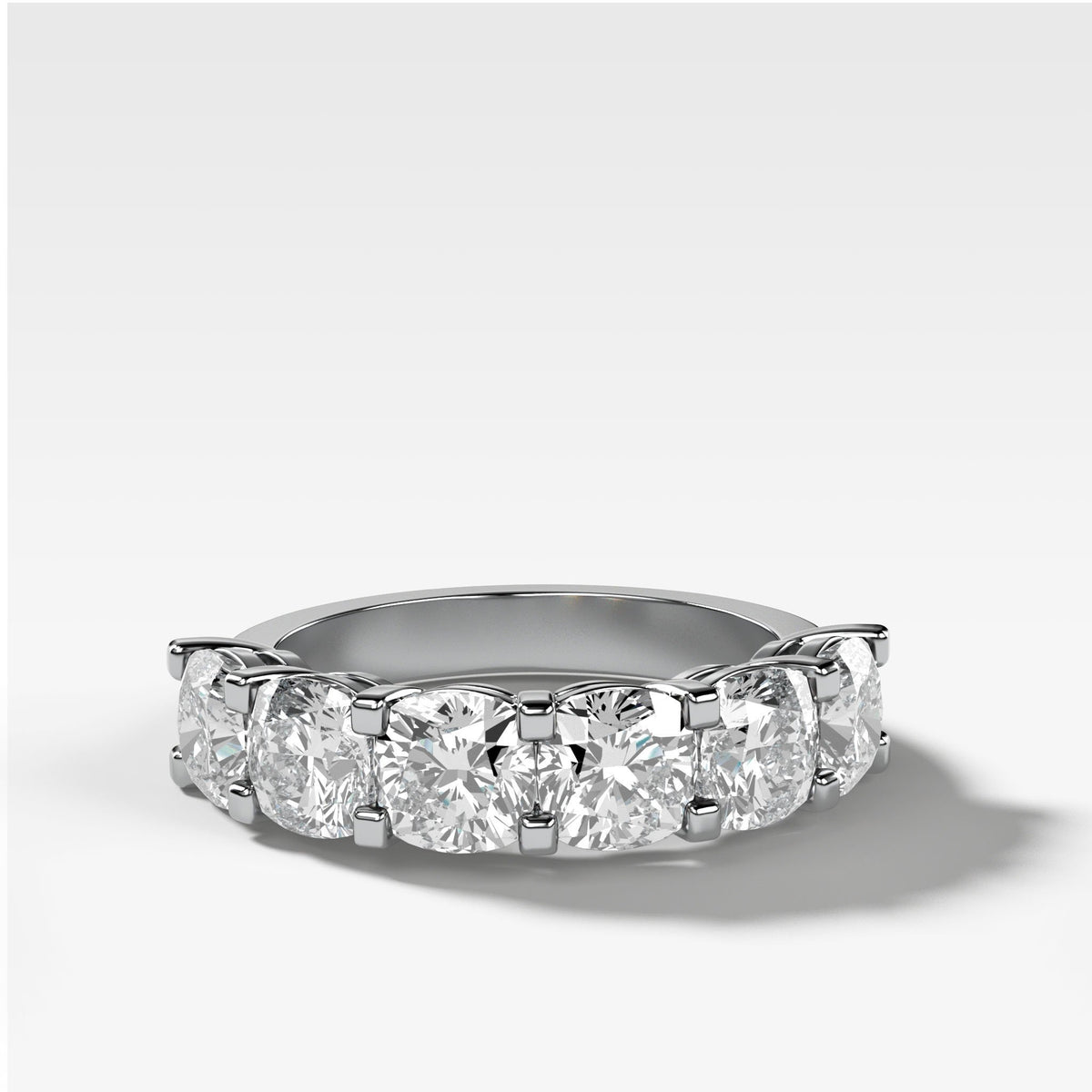 Six Stone Shared Prong Diamond Band With Cushion Cuts In White Gold By Good Stone