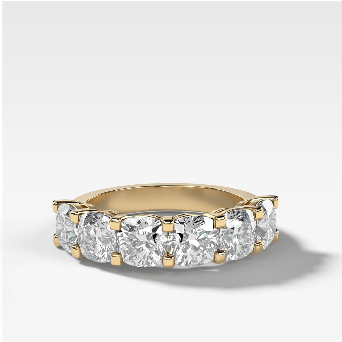 Six Stone Shared Prong Diamond Band With Cushion Cuts In Yellow Gold By Good Stone