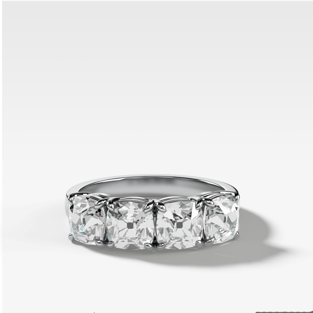 Four Stone Diamond Wedding Band With Old Mine Cuts in White Gold by Good Stone