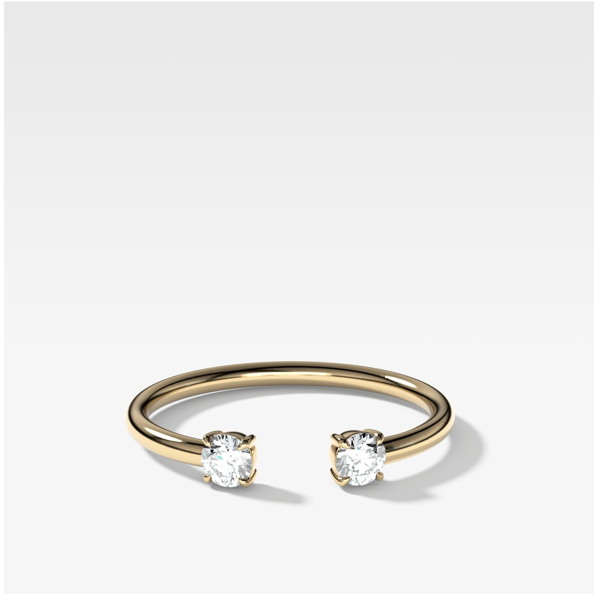 Claw Diamond Band: Negative Space Ring in Yellow Gold by Good Stone