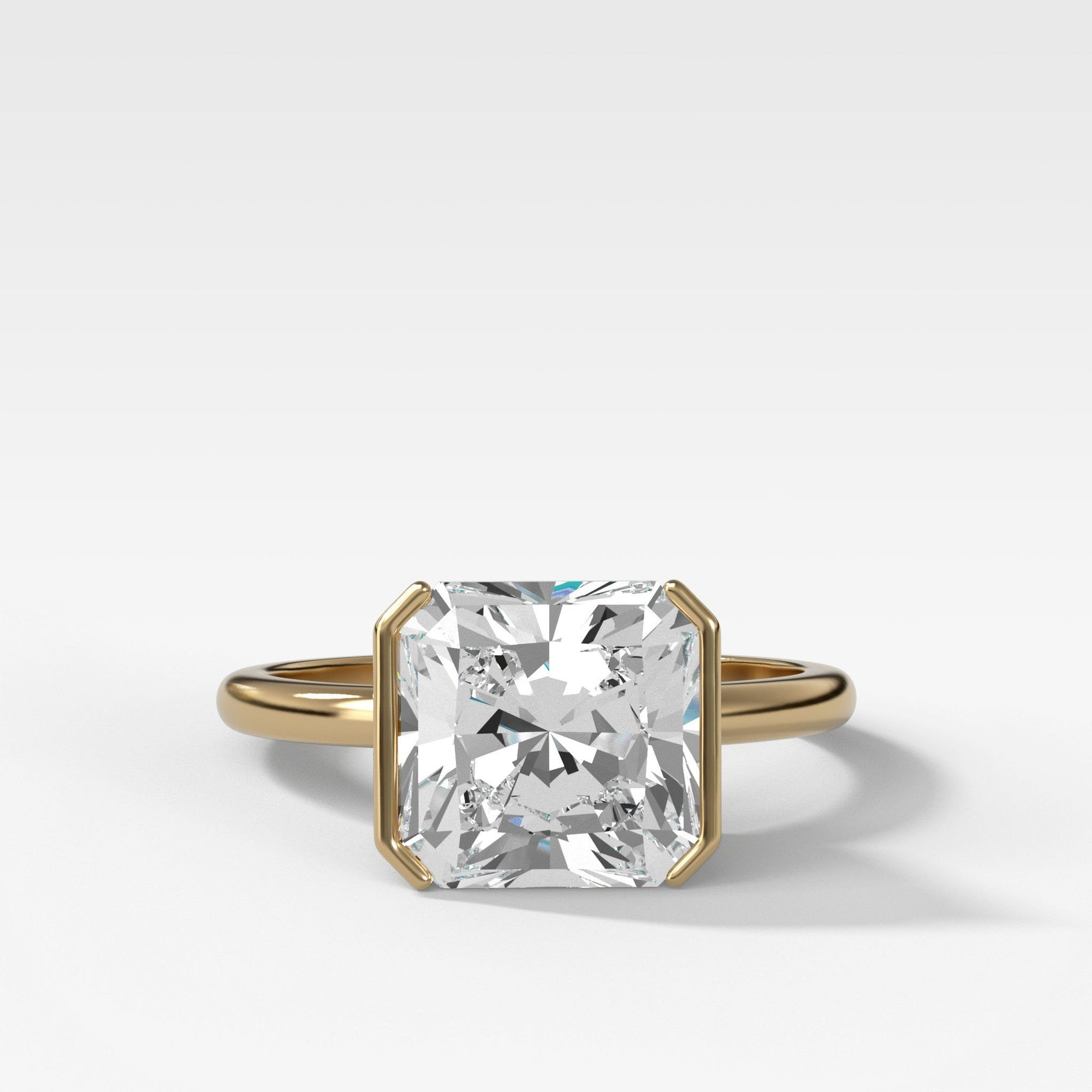 Half Bezel Solitaire Engagement Ring With Square Radiant Cut in Yellow Gold by Good Stone