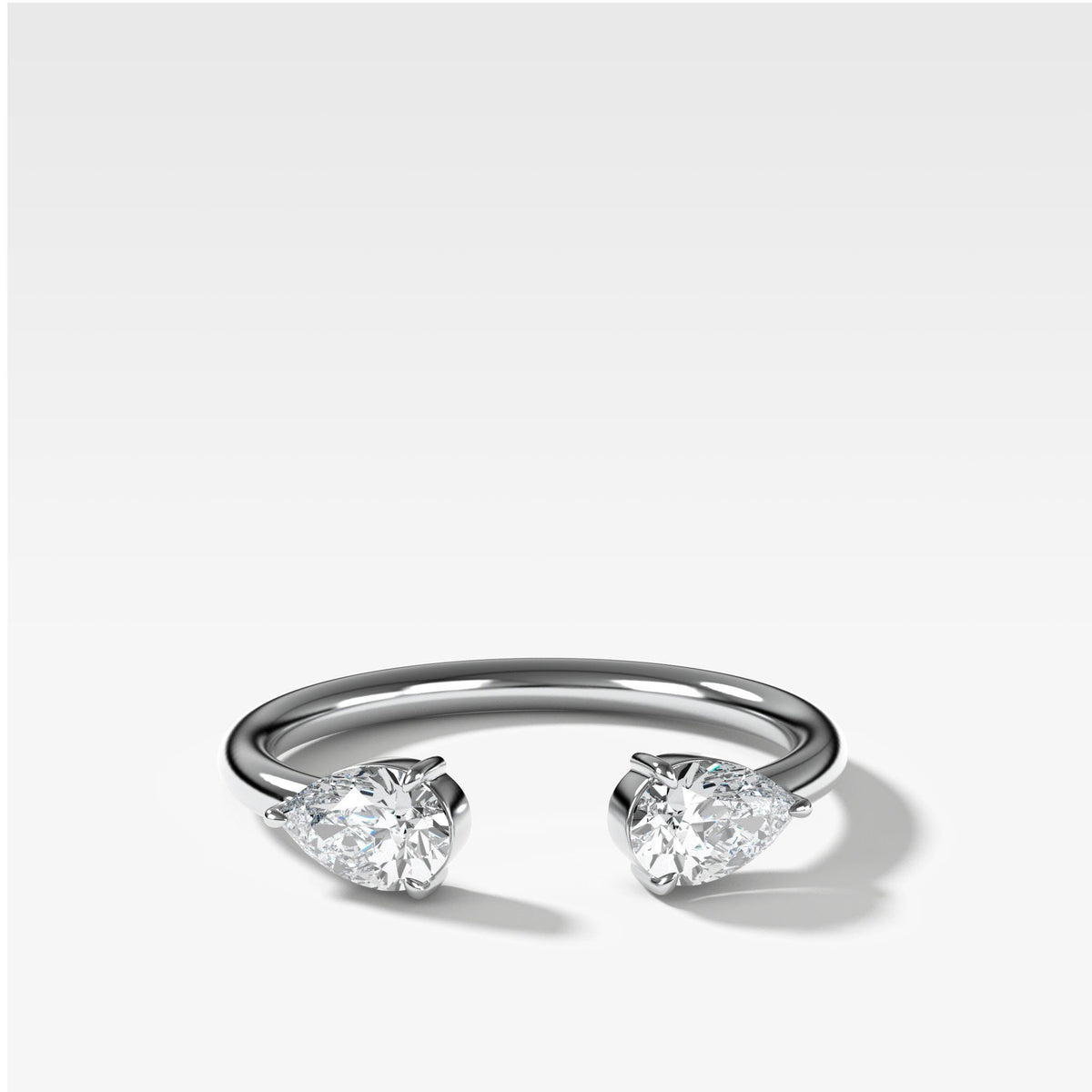 Twin Pear Diamond Finger Cuff in White Gold by Good Stone