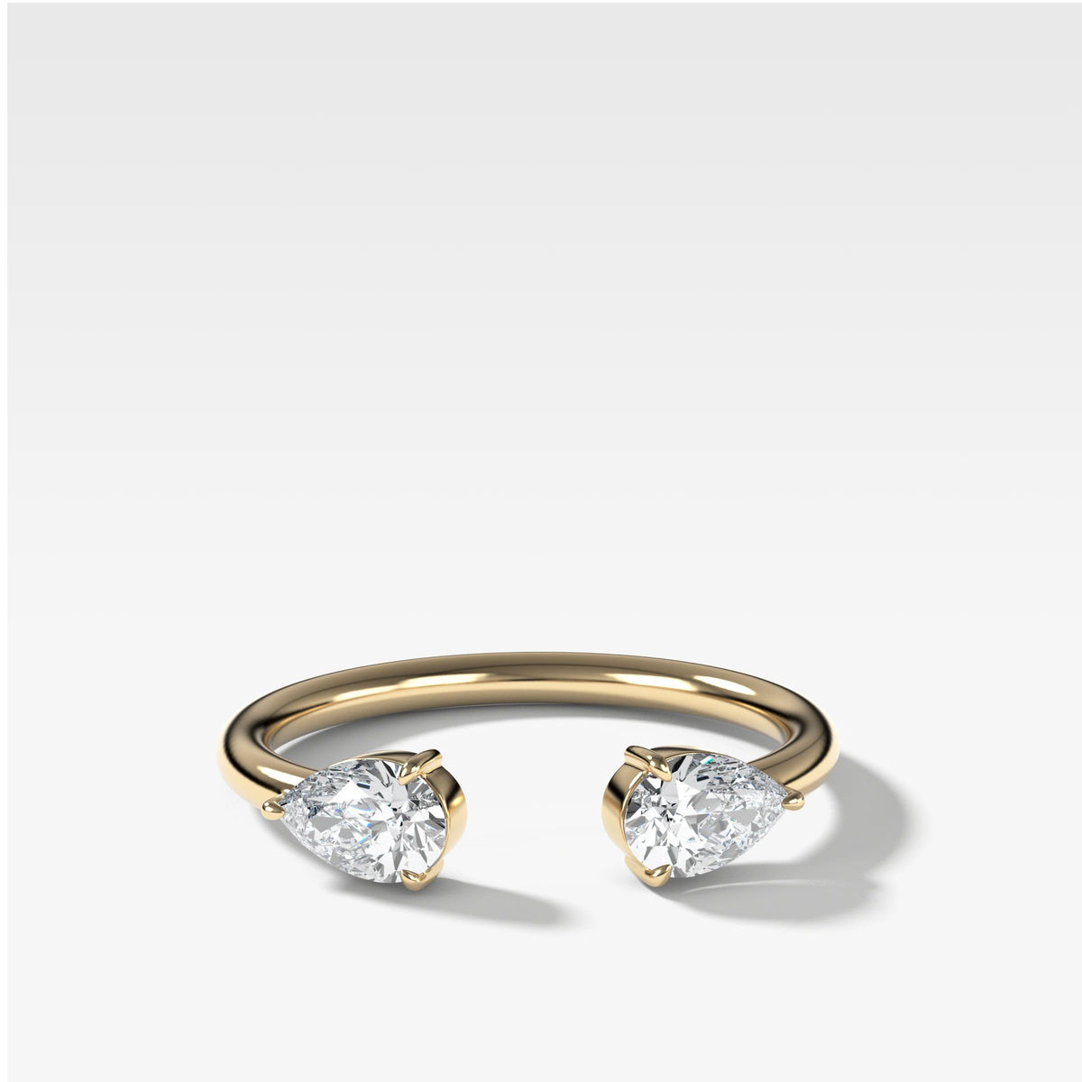 Twin Pear Diamond Finger Cuff in Yellow Gold by Good Stone