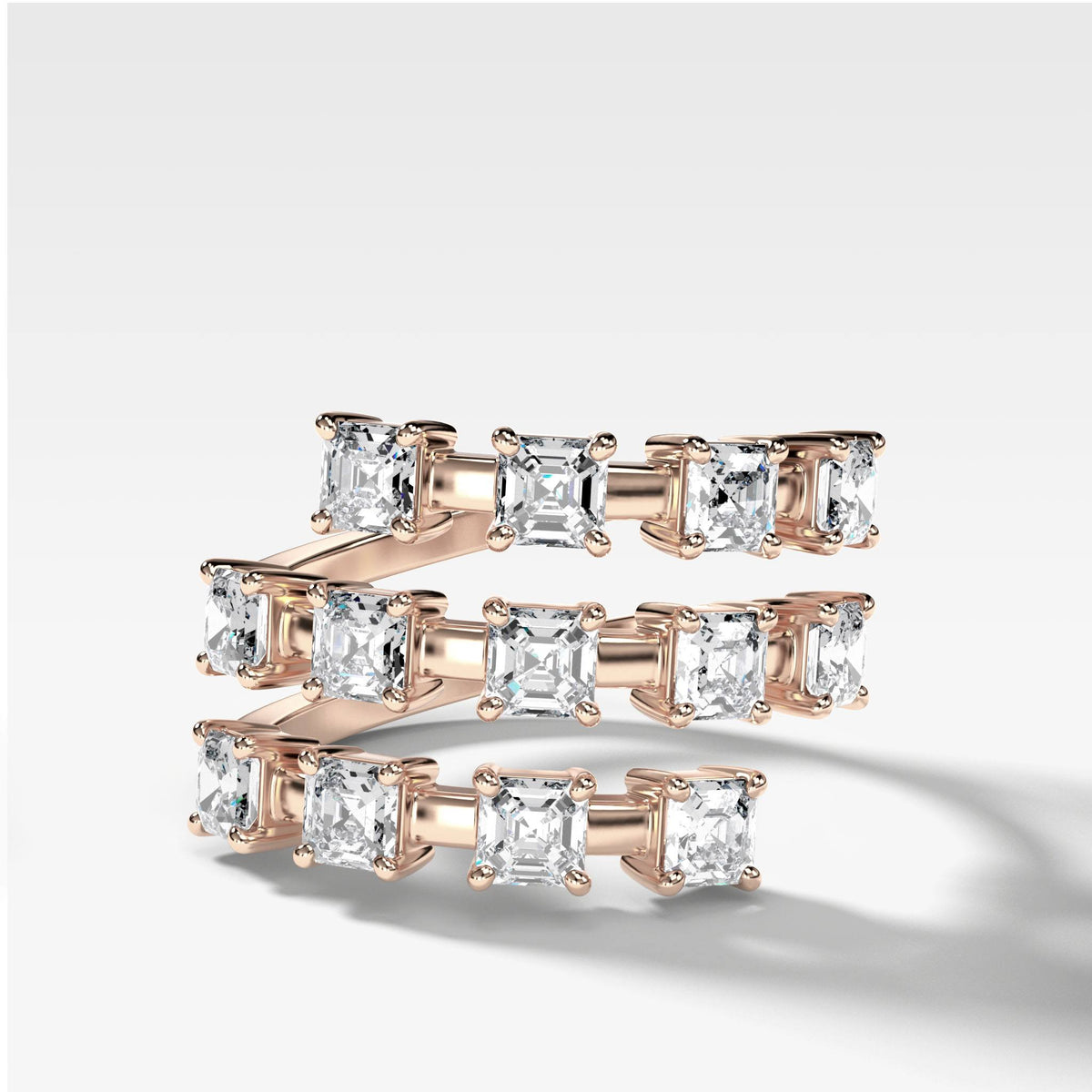 Asscher Wrap Diamond Ring in Rose Gold by Good Stone